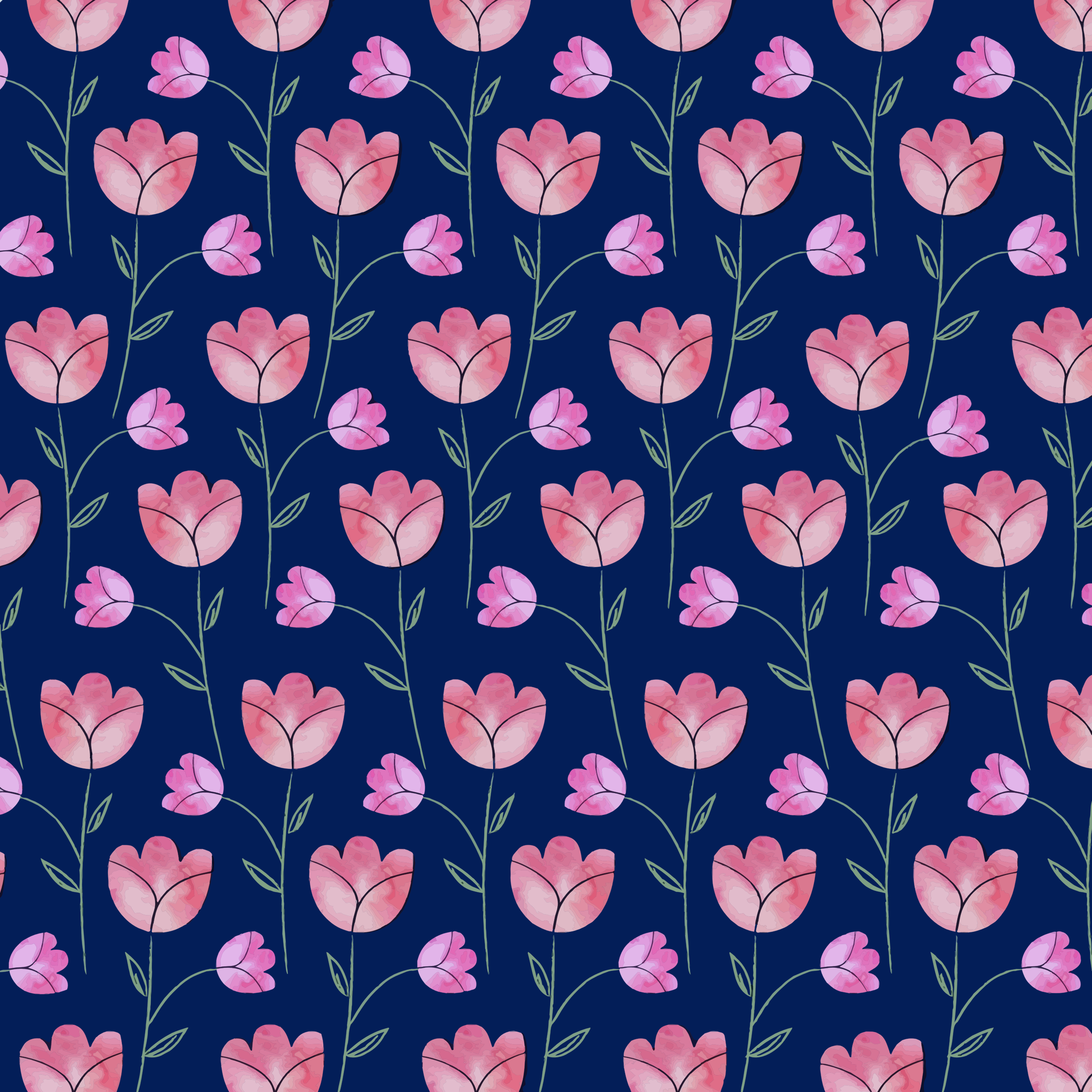 Watercolor Floral Pattern by GDJ