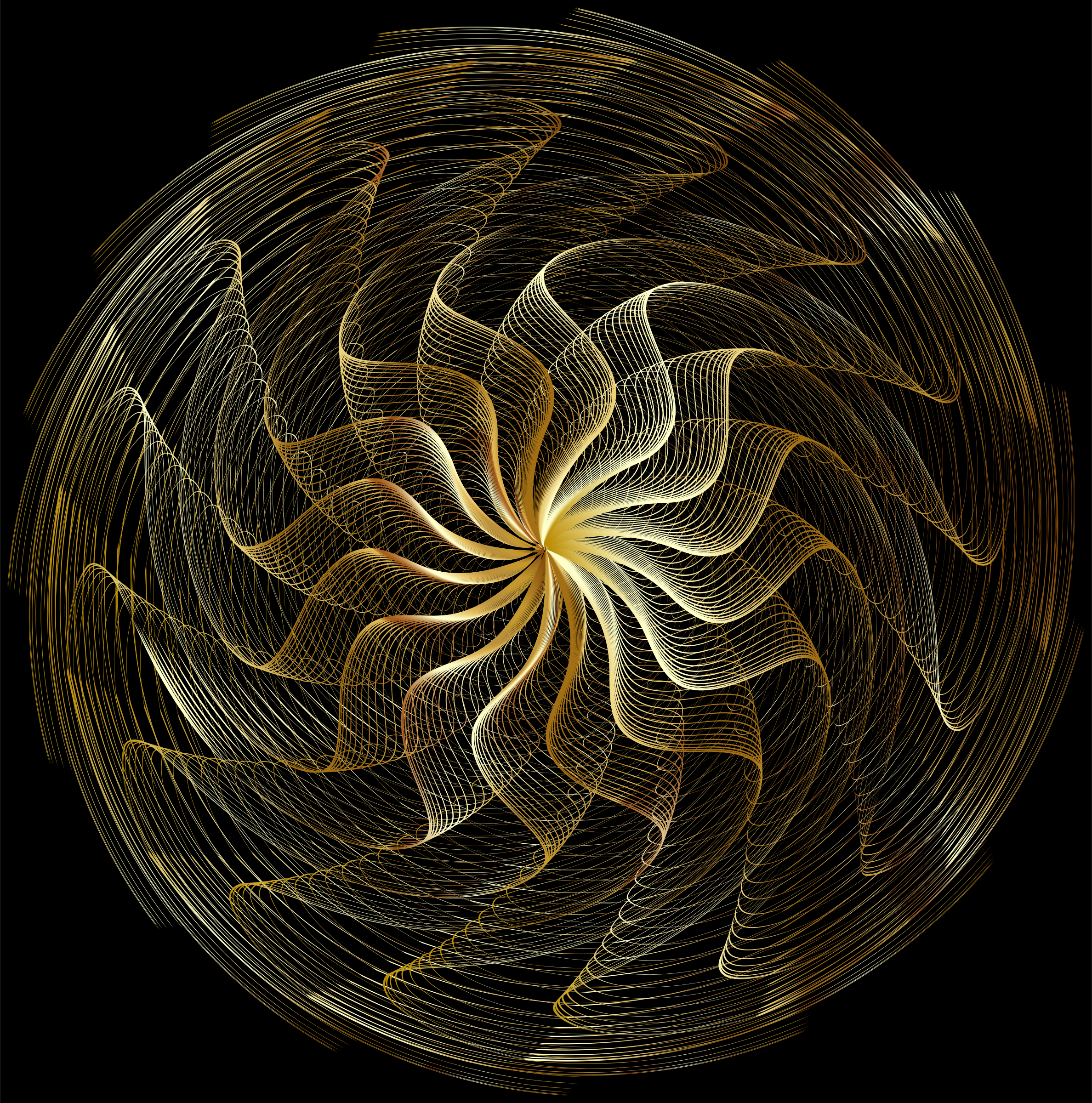 Colorful Wavy Vortex Line Art 2 by GDJ