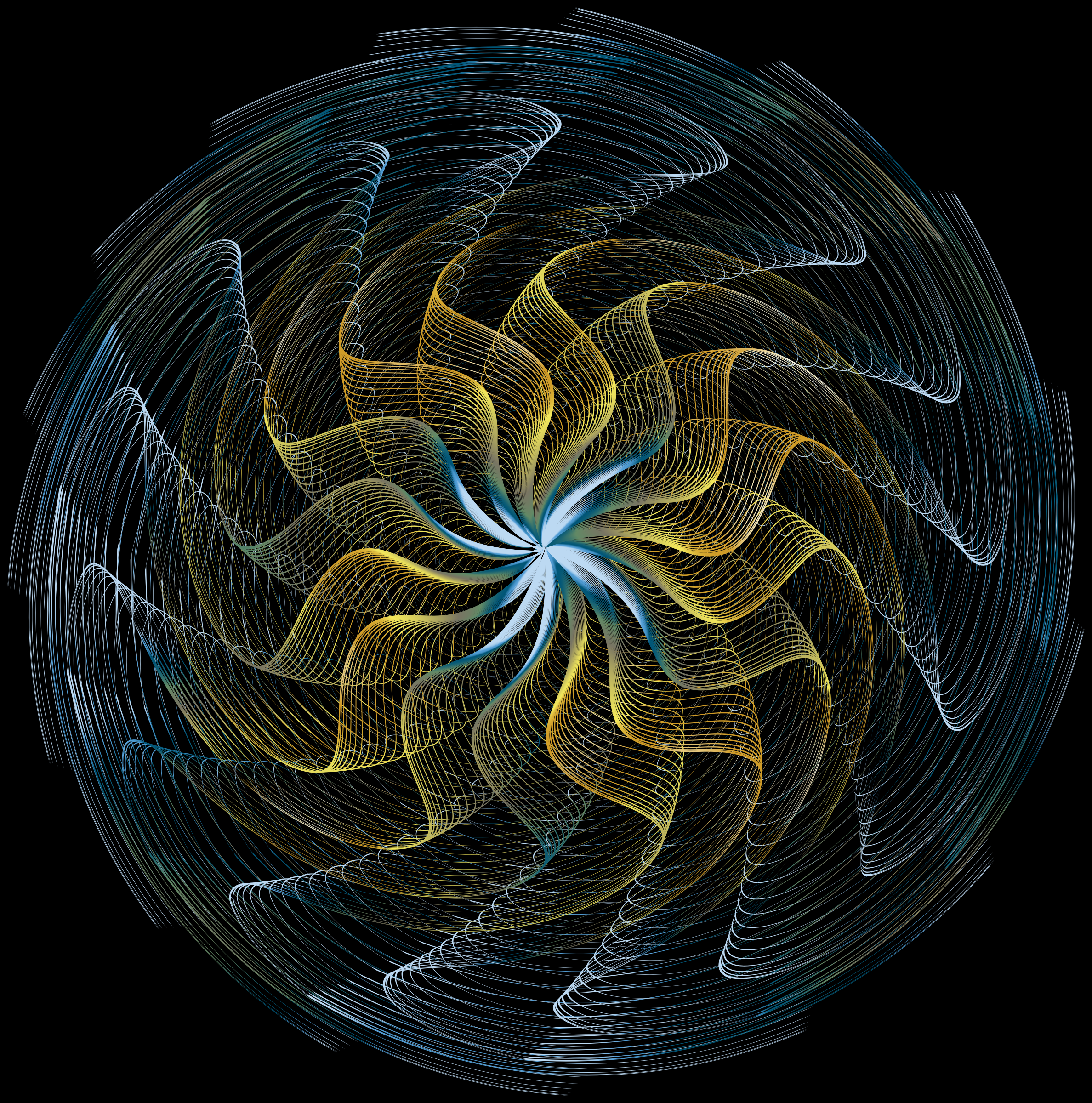 Colorful Wavy Vortex Line Art 3 by GDJ