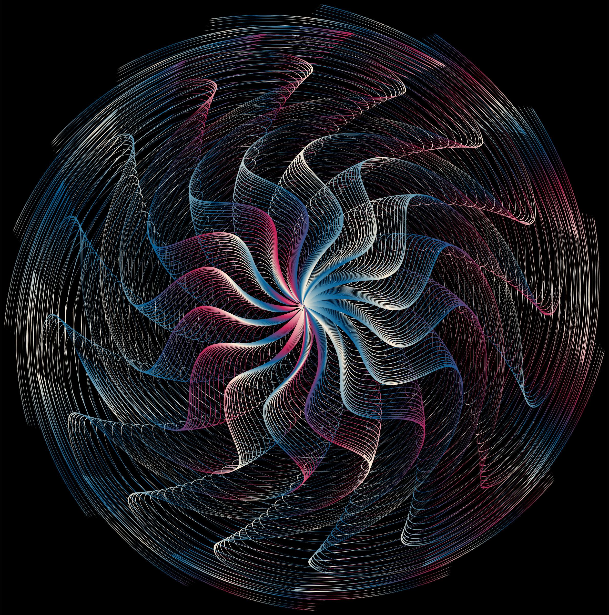 Colorful Wavy Vortex Line Art 5 by GDJ