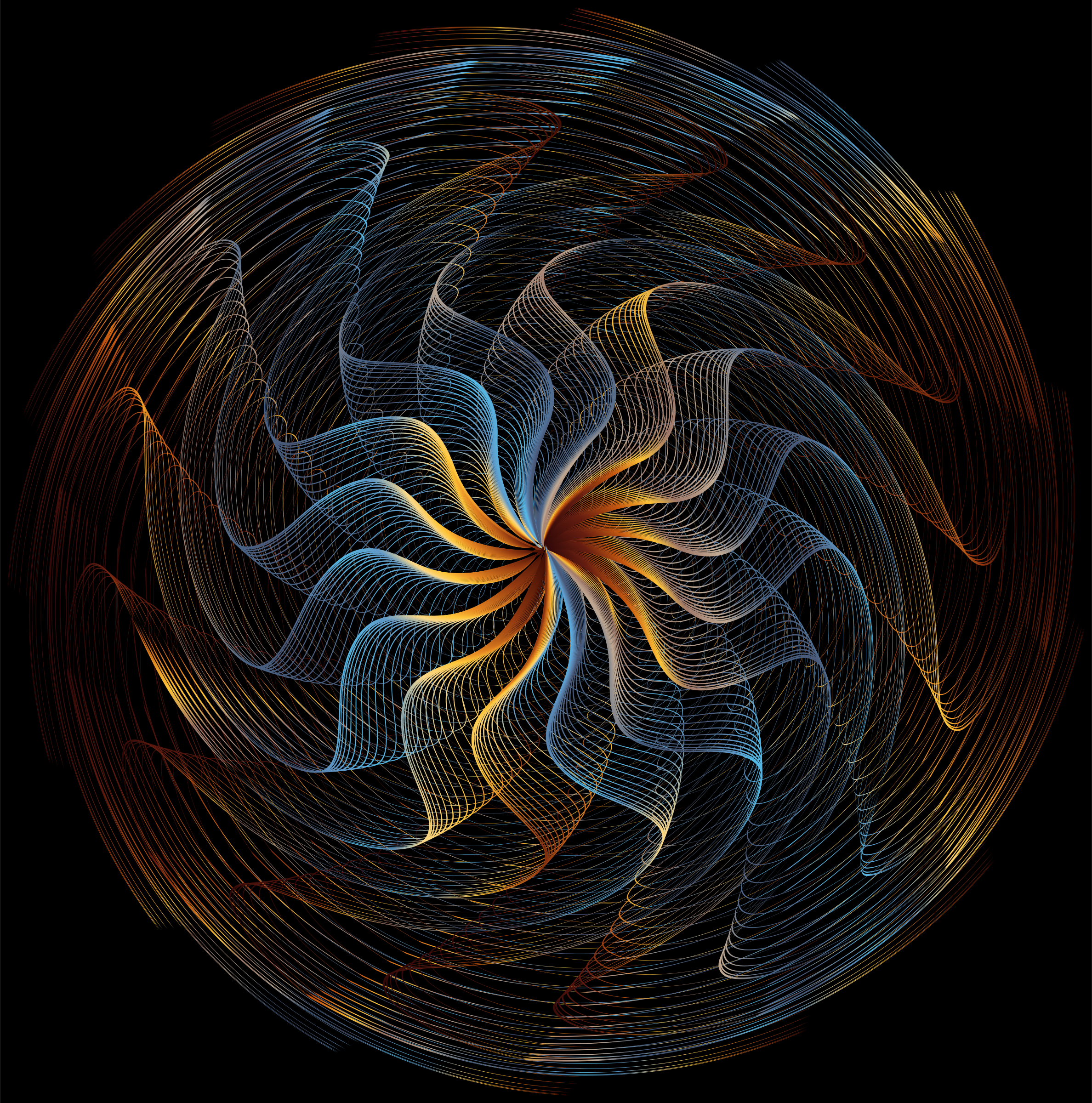 Colorful Wavy Vortex Line Art 6 by GDJ