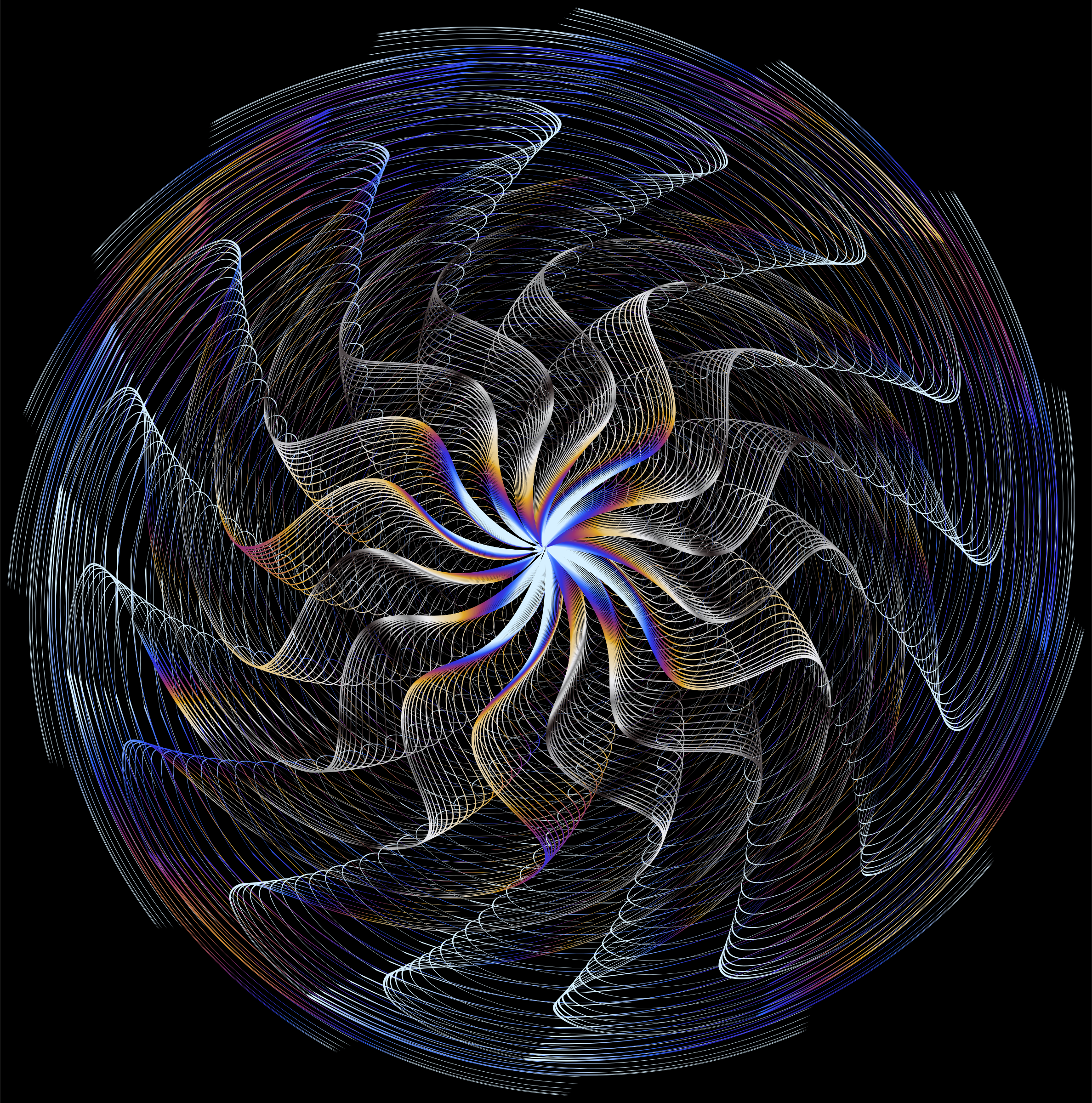 Colorful Wavy Vortex Line Art 7 by GDJ