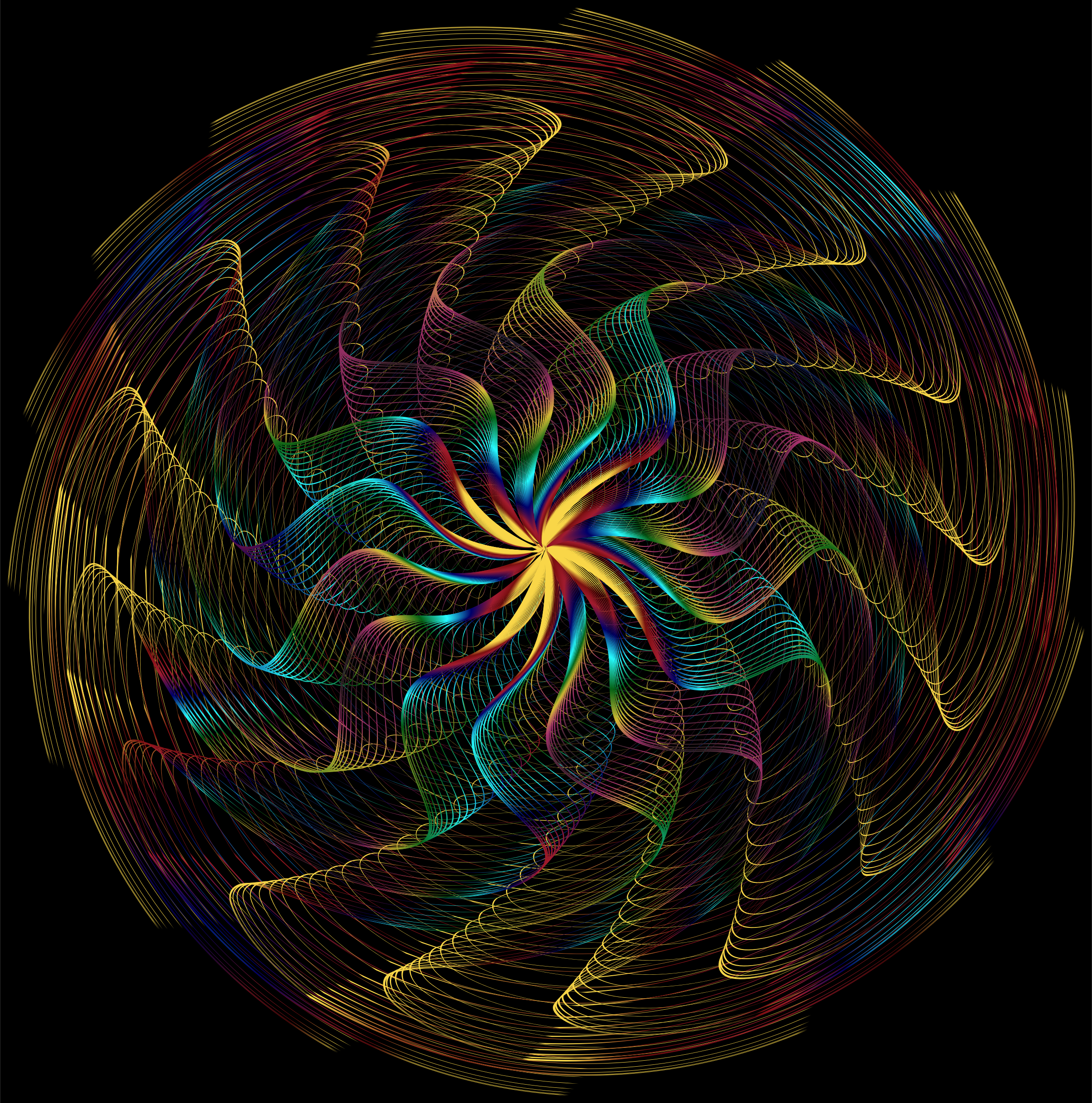 Colorful Wavy Vortex Line Art 8 by GDJ