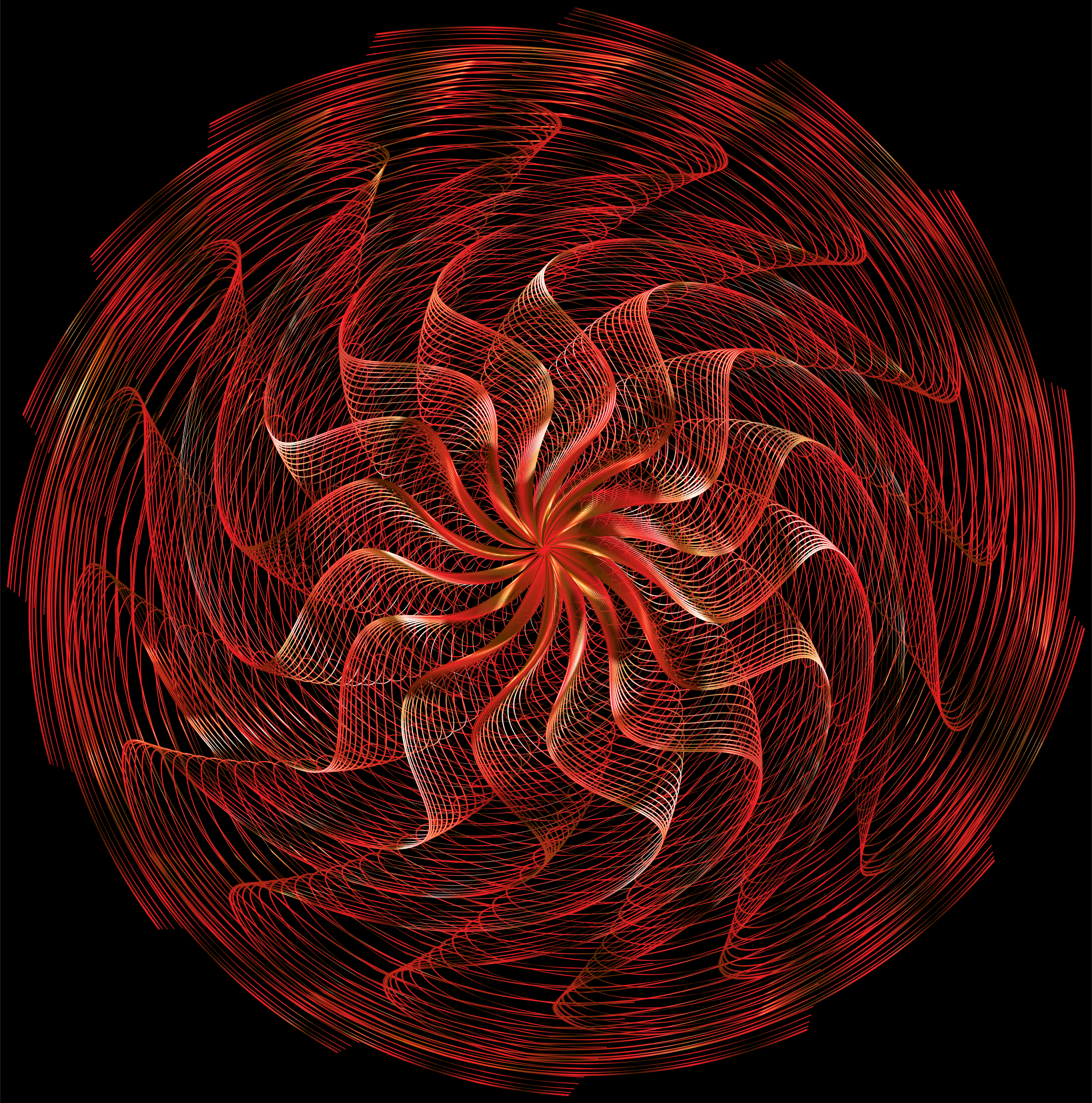 Colorful Wavy Vortex Line Art 11 by GDJ