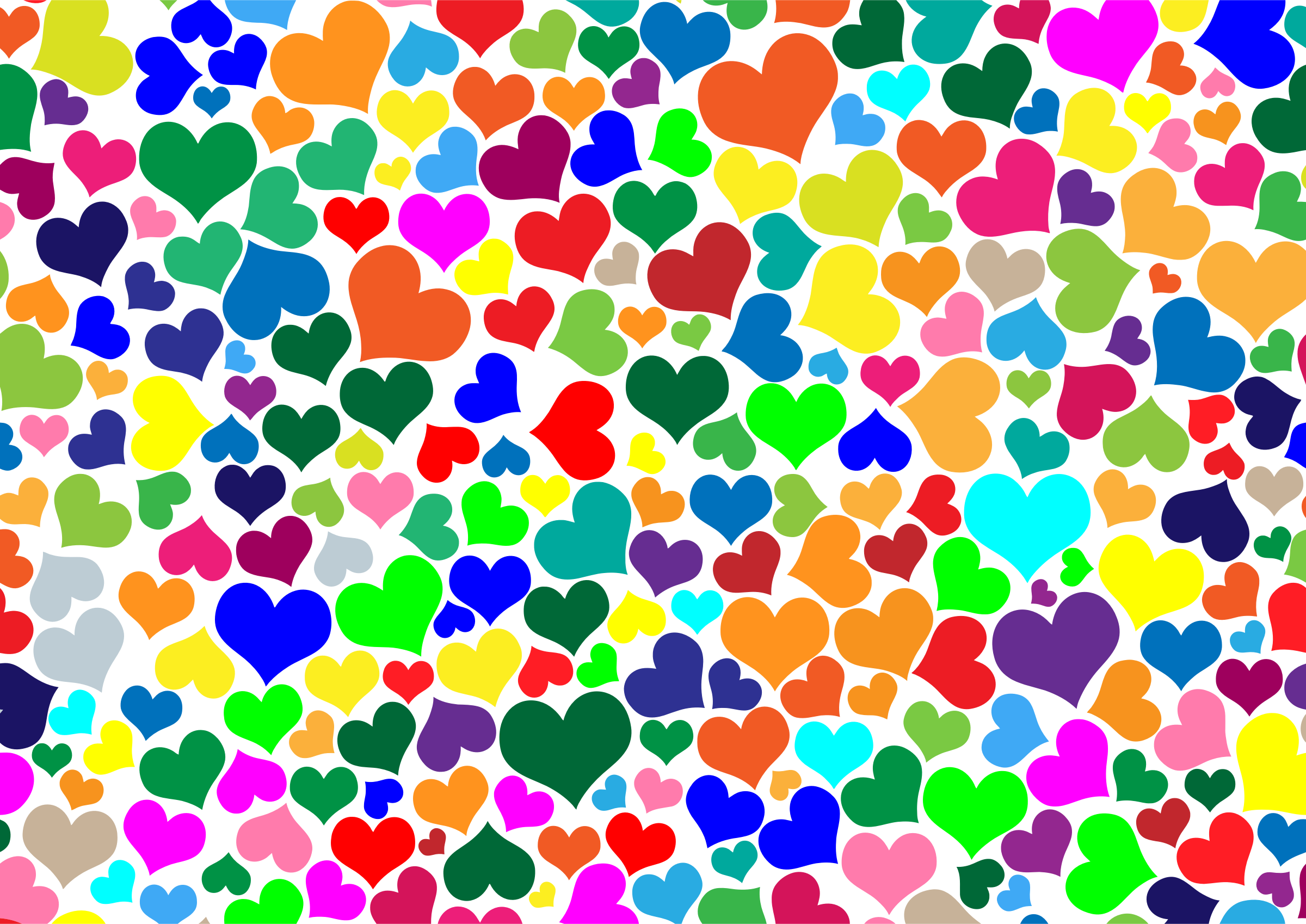 Colorful Hearts Background by GDJ