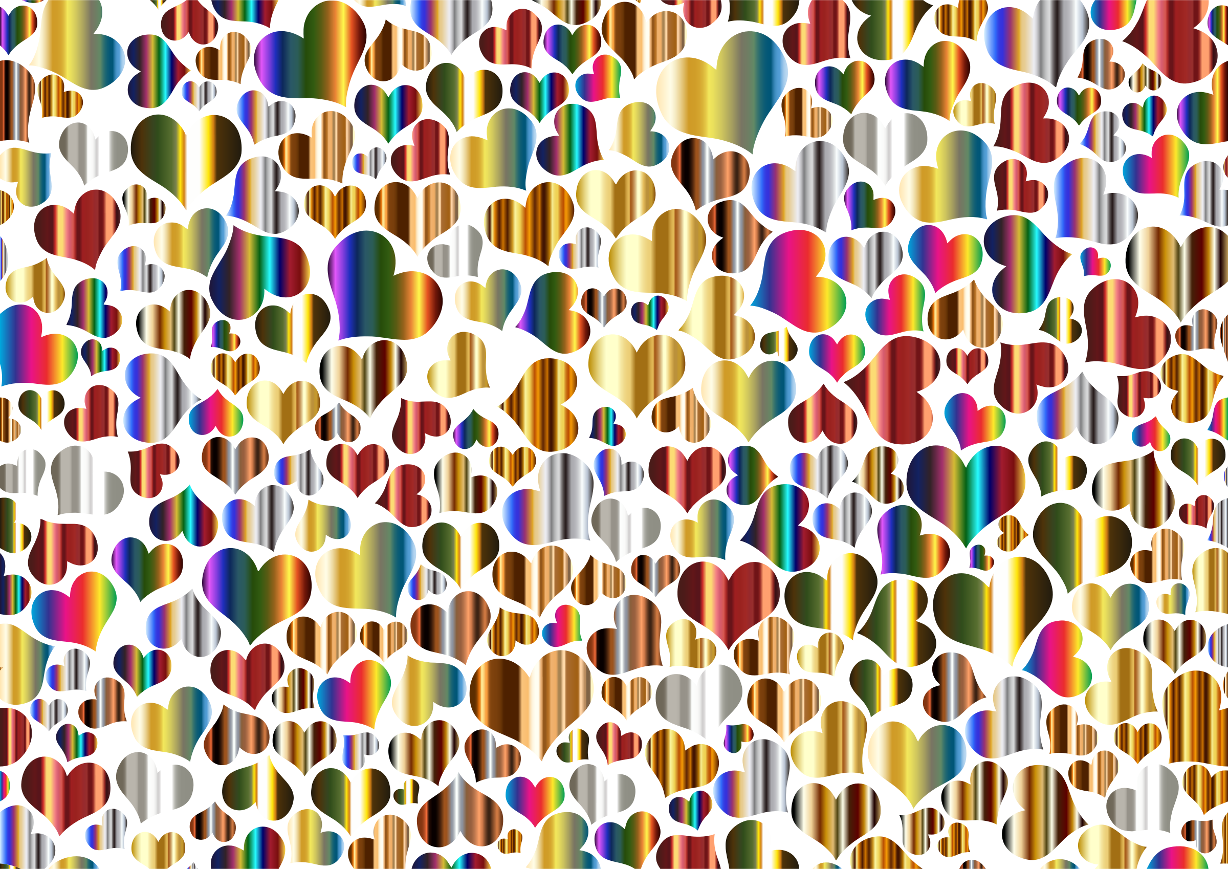 Shiny Metallic Hearts Background 2 by GDJ