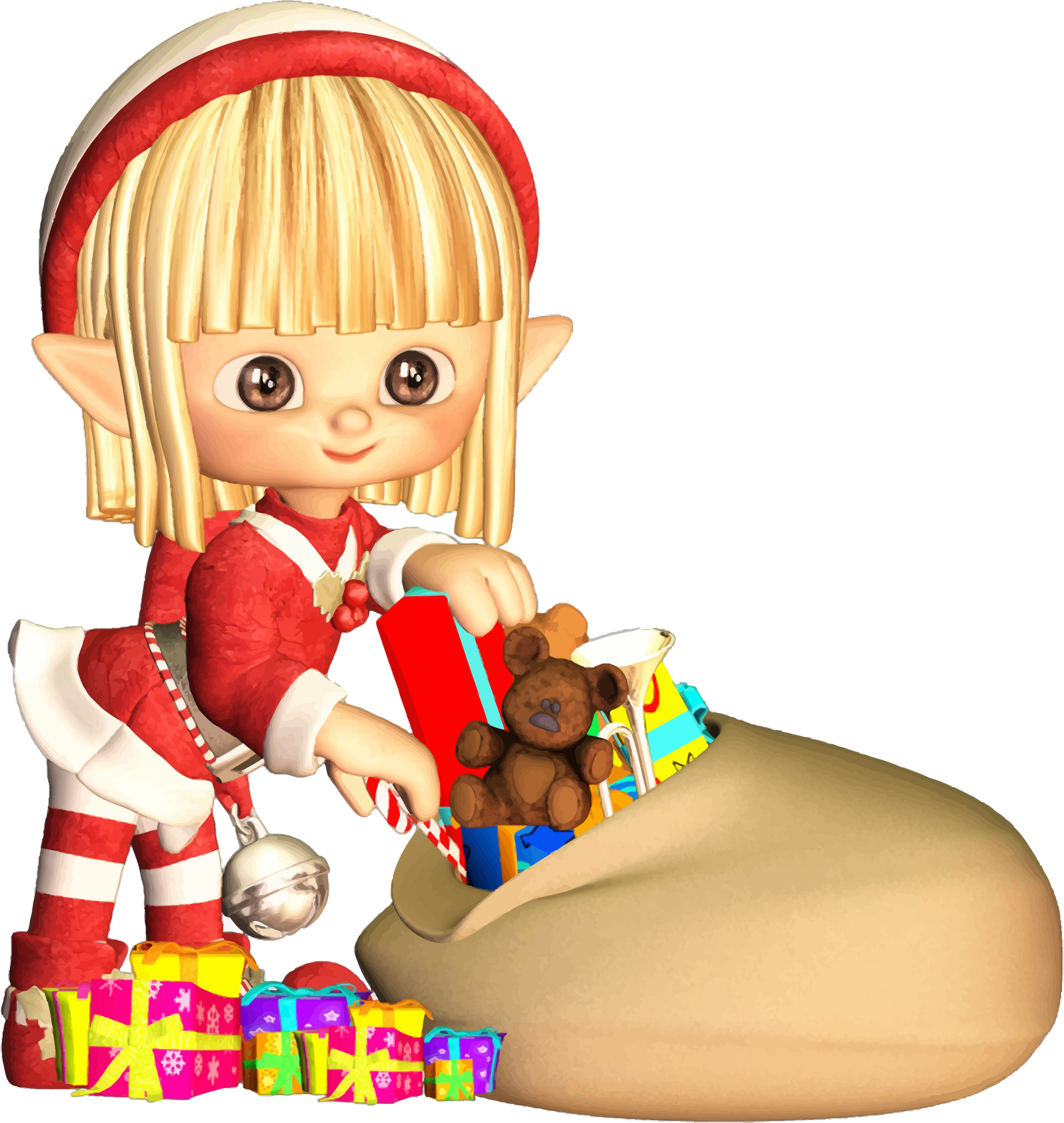 clipart cartoon elf with christmas gifts