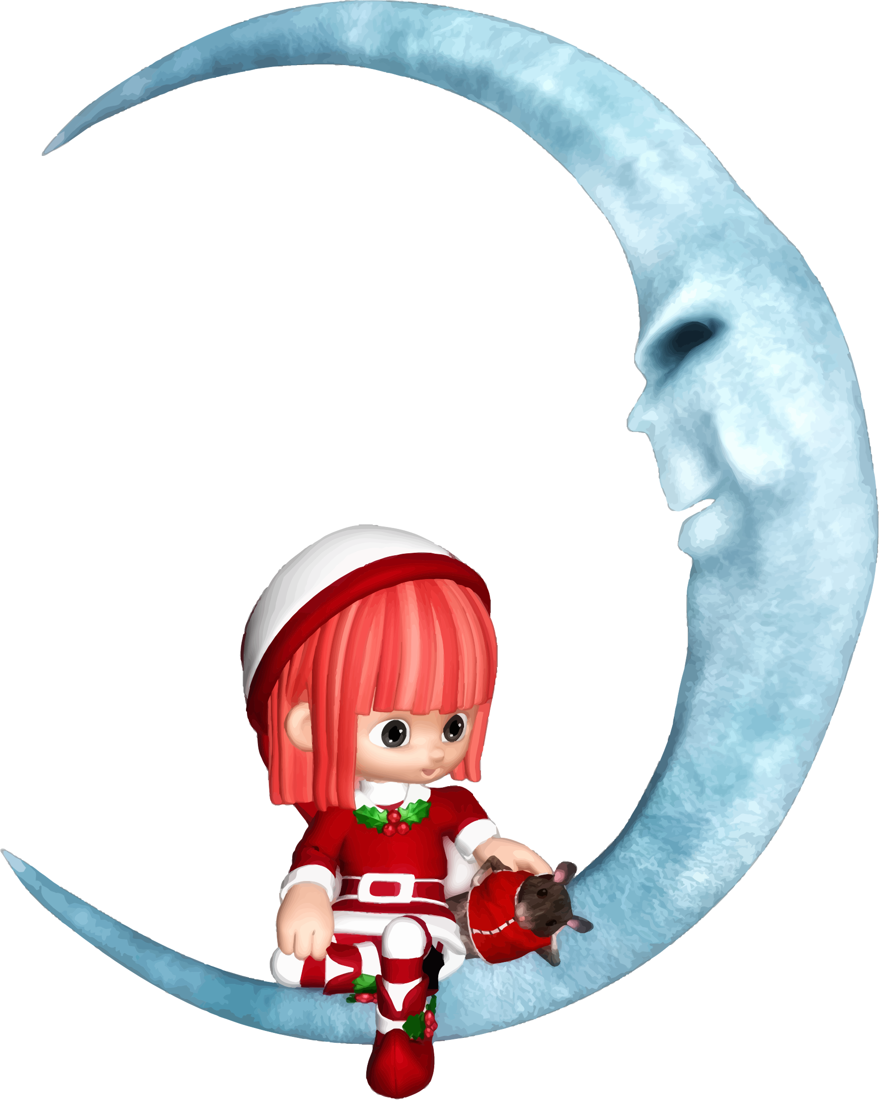 Elf Sitting On Crescent Moon by GDJ