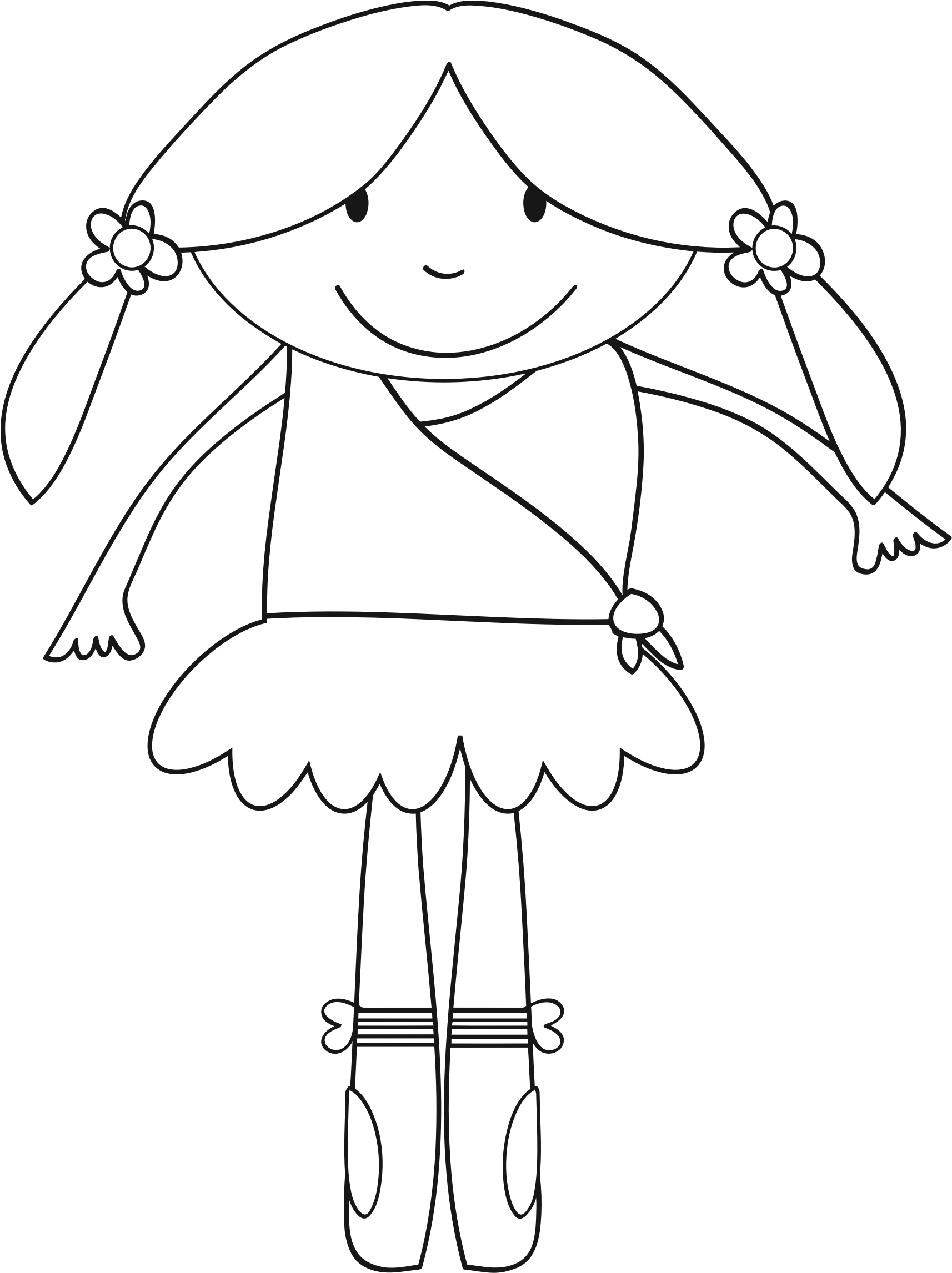 Ballerina Girl Line Art by GDJ