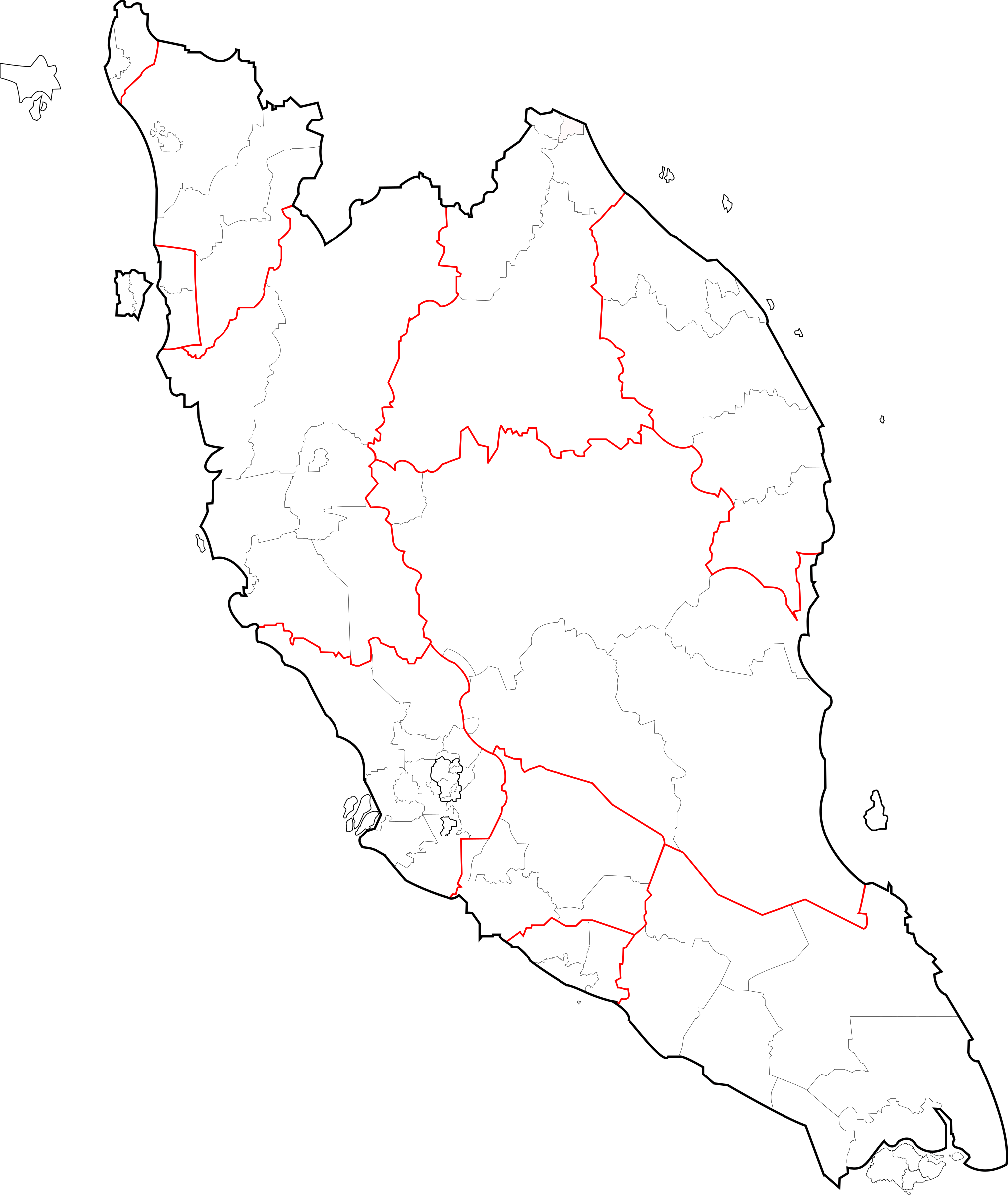 Blank map of Peninsular Malaysia (fixed and updated) by derkommander0916