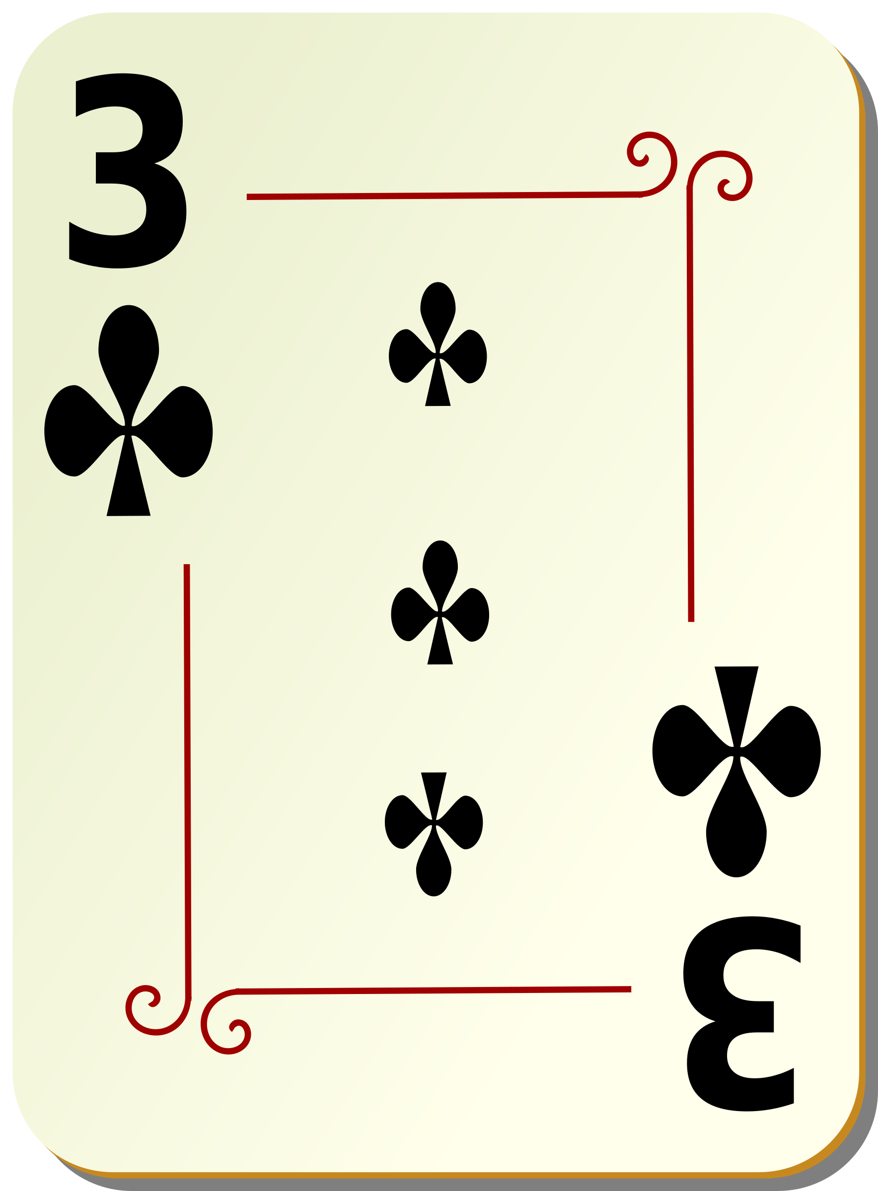 Ornamental deck: 3 of clubs by nicubunu