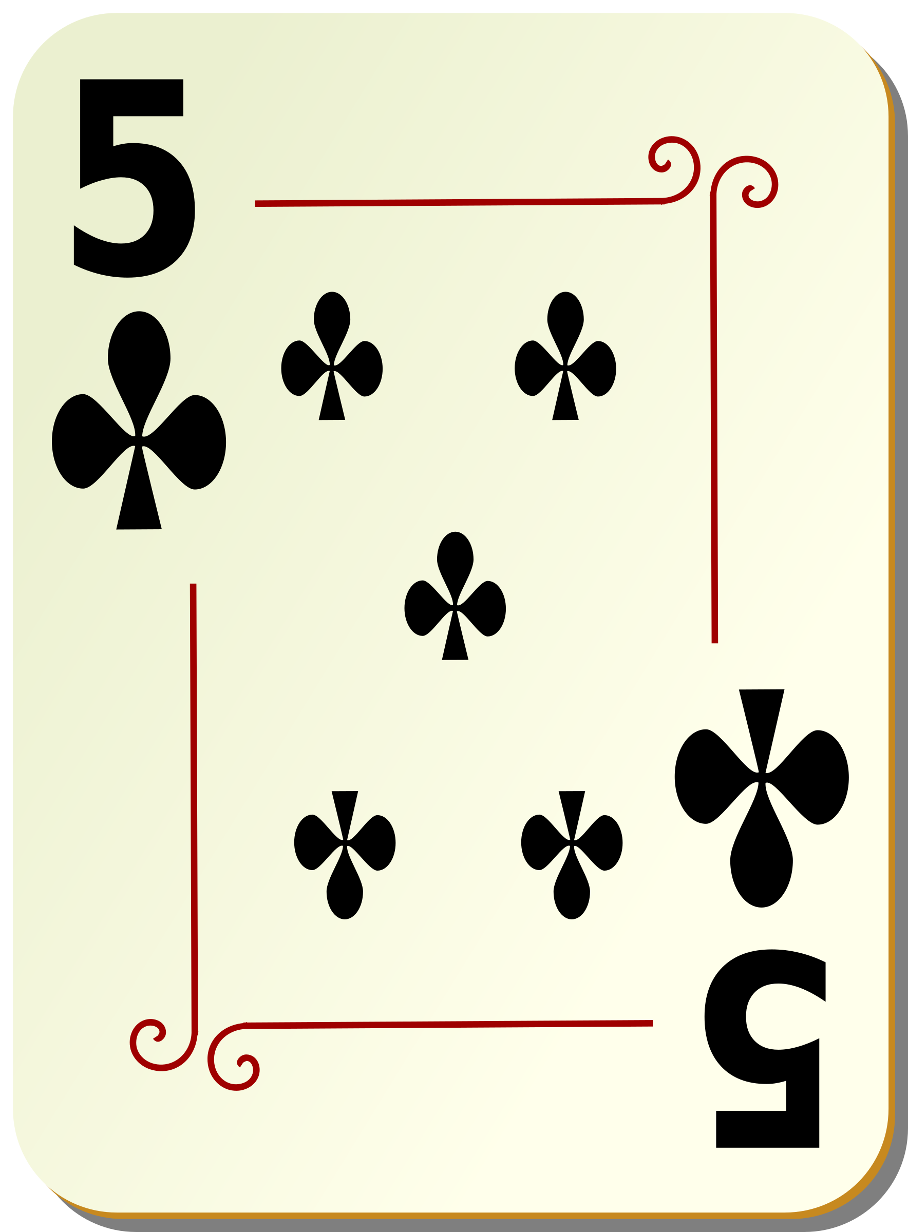 Ornamental deck: 5 of clubs by nicubunu