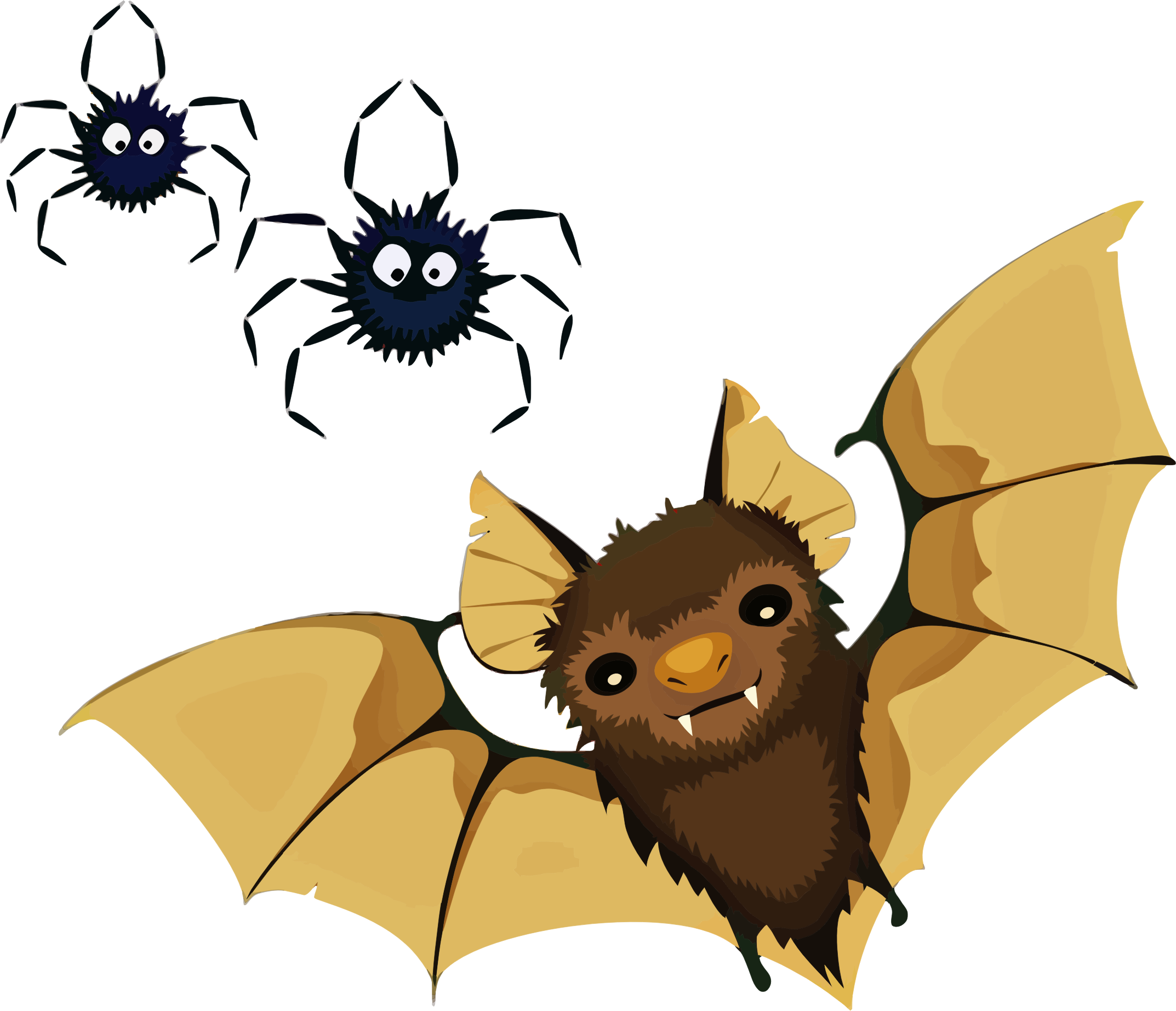 Clipart - Vampire Bat And Spiders