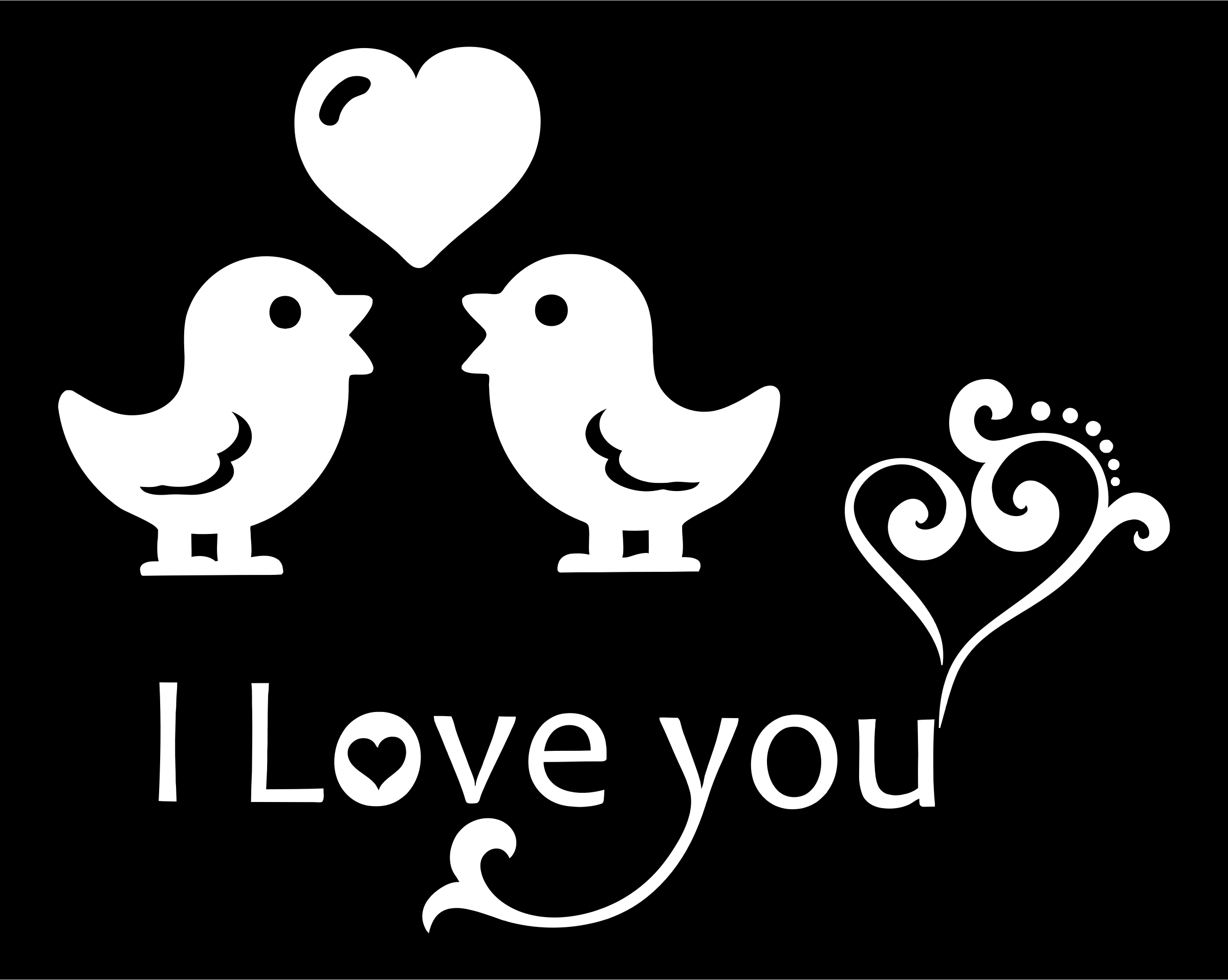 I Love You Typography Black And White by GDJ