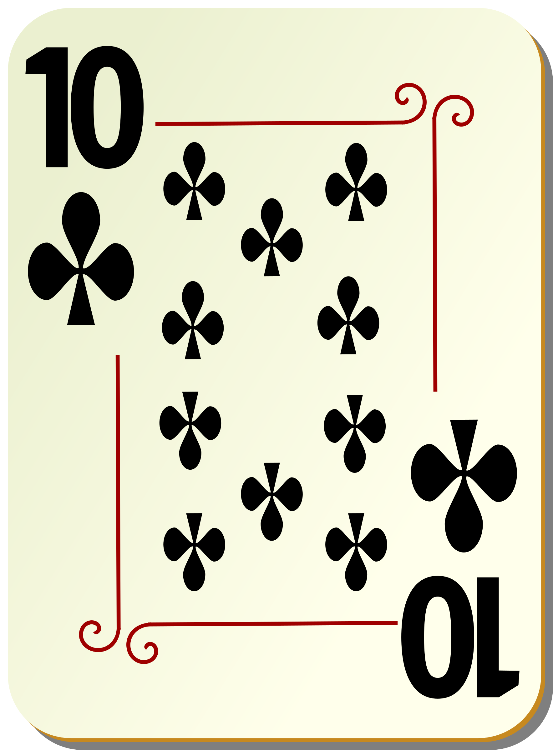 Ornamental deck: 10 of clubs by nicubunu