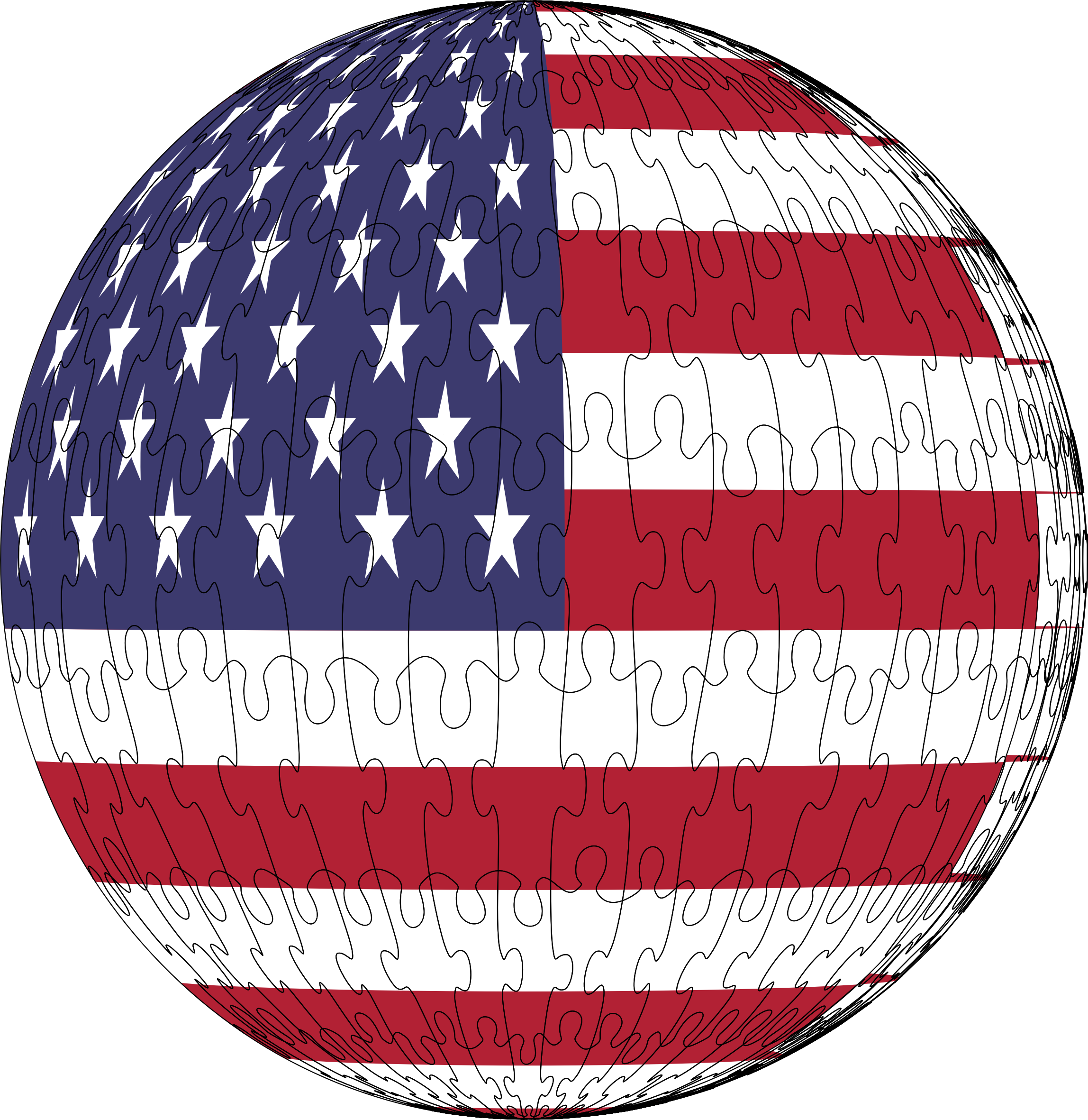 America Flag Sphere Jigsaw Puzzle by GDJ