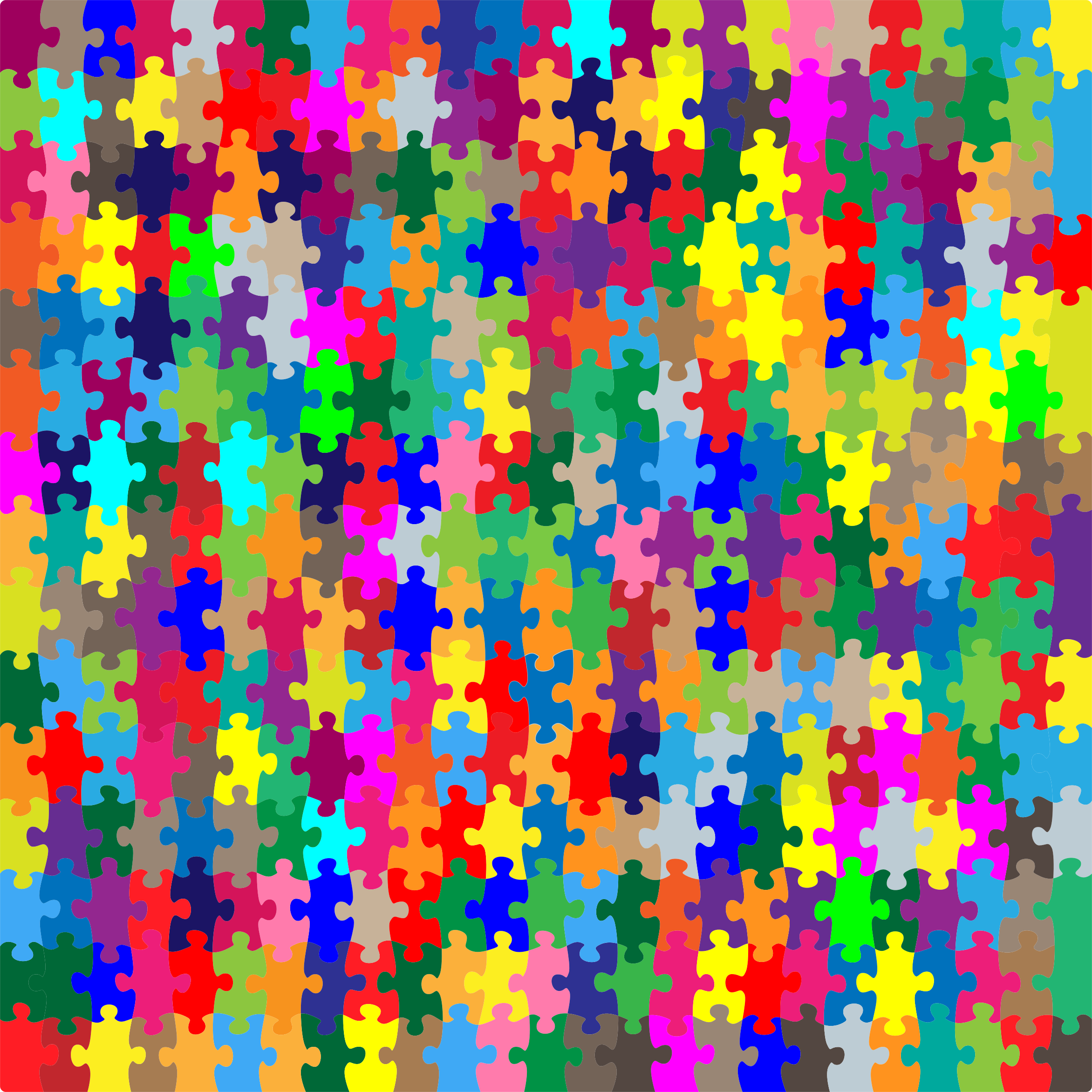 Multicolored Jigsaw Puzzle Pieces No Strokes by GDJ
