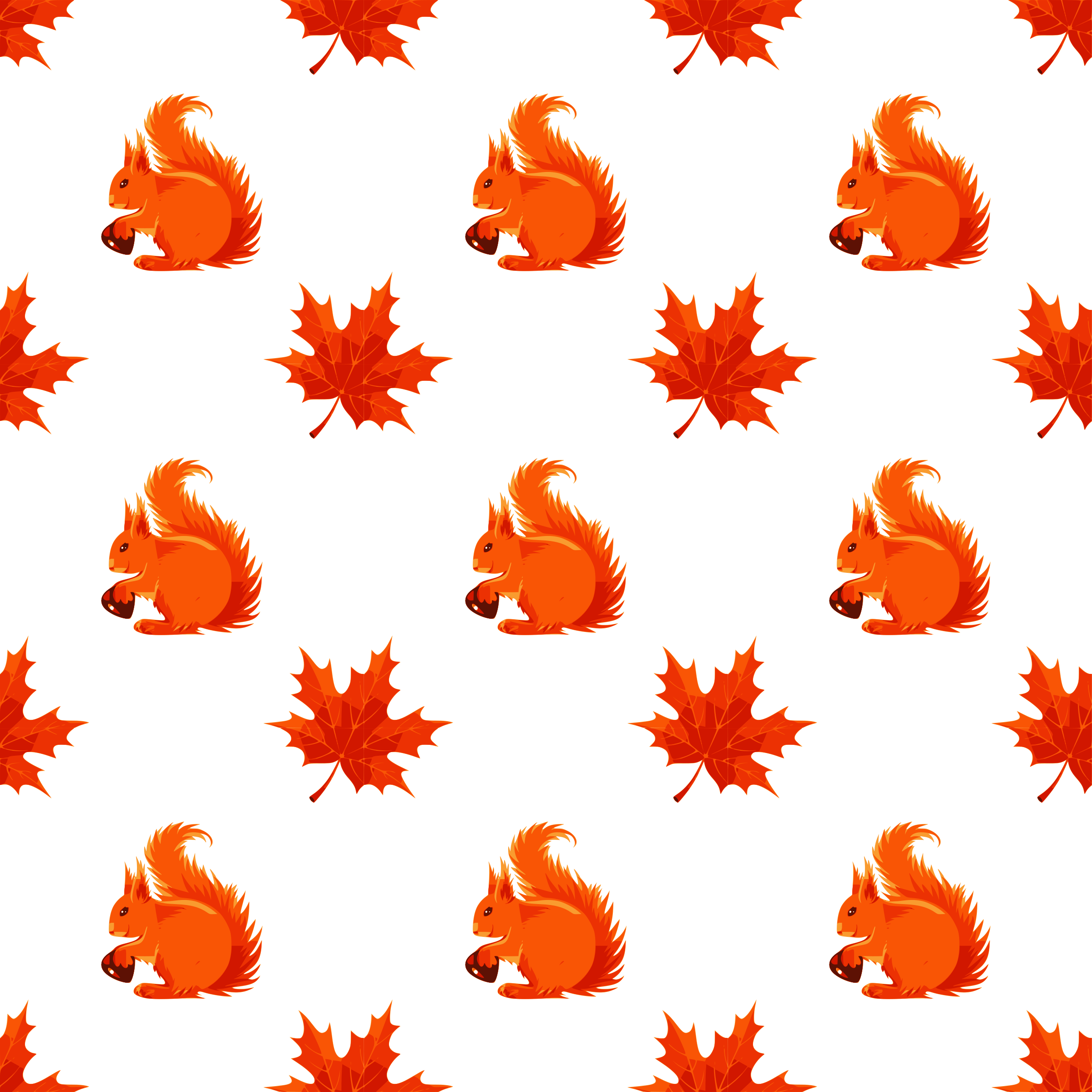 Maple and squirrel seamless pattern by yamachem