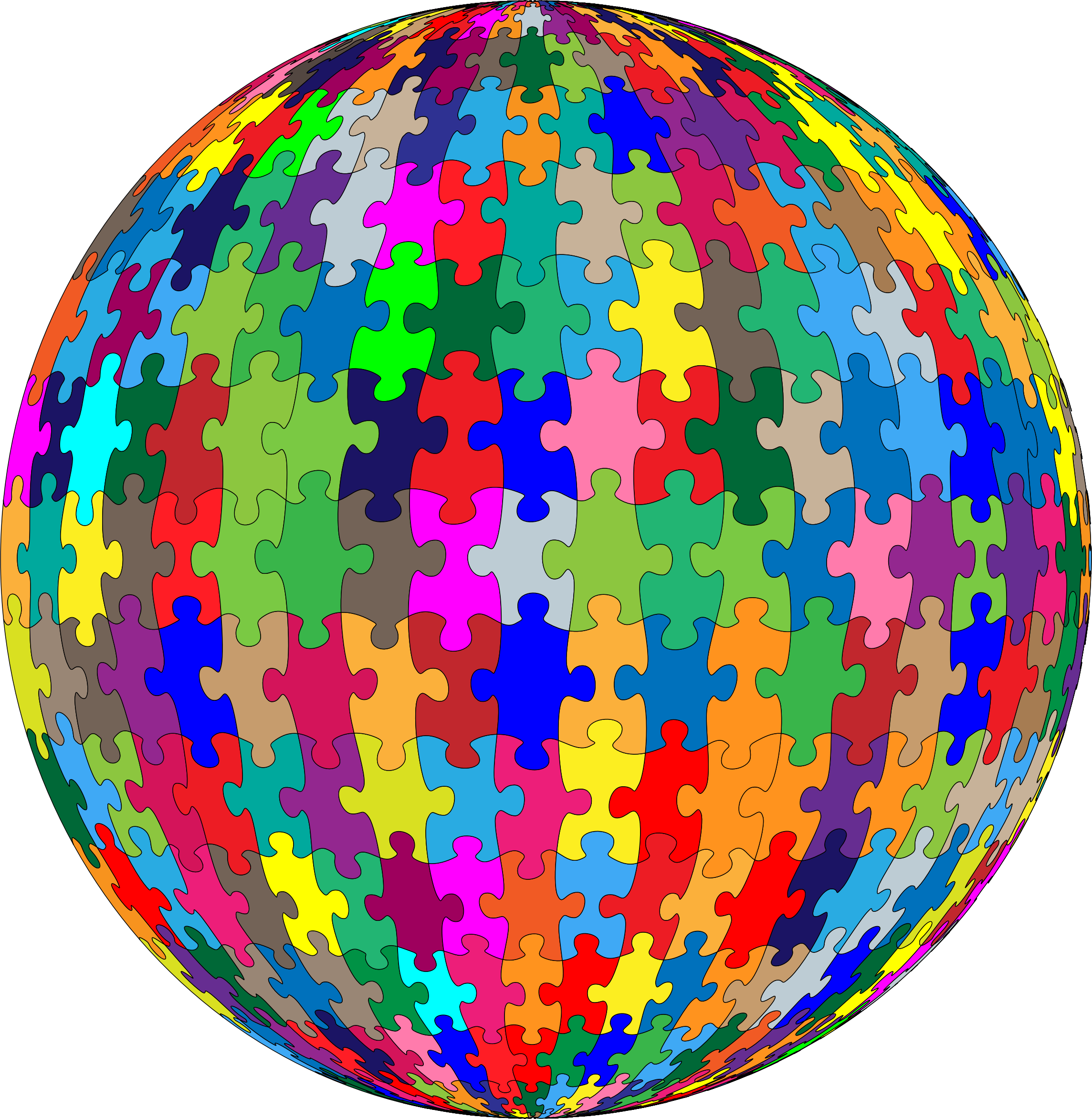 Multicolored Jigsaw Puzzle Pieces Sphere by GDJ