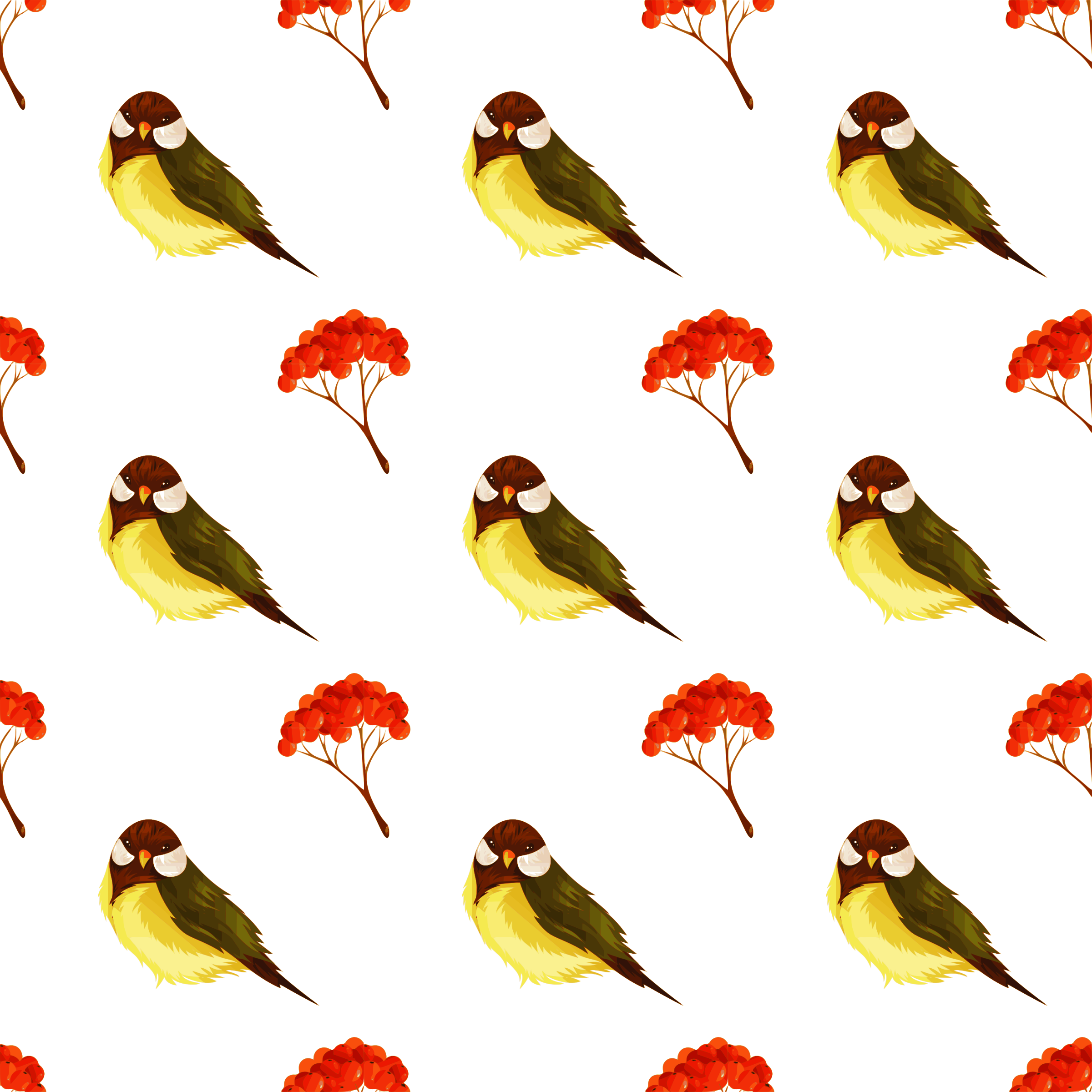 Bird and pome seamless pattern by yamachem