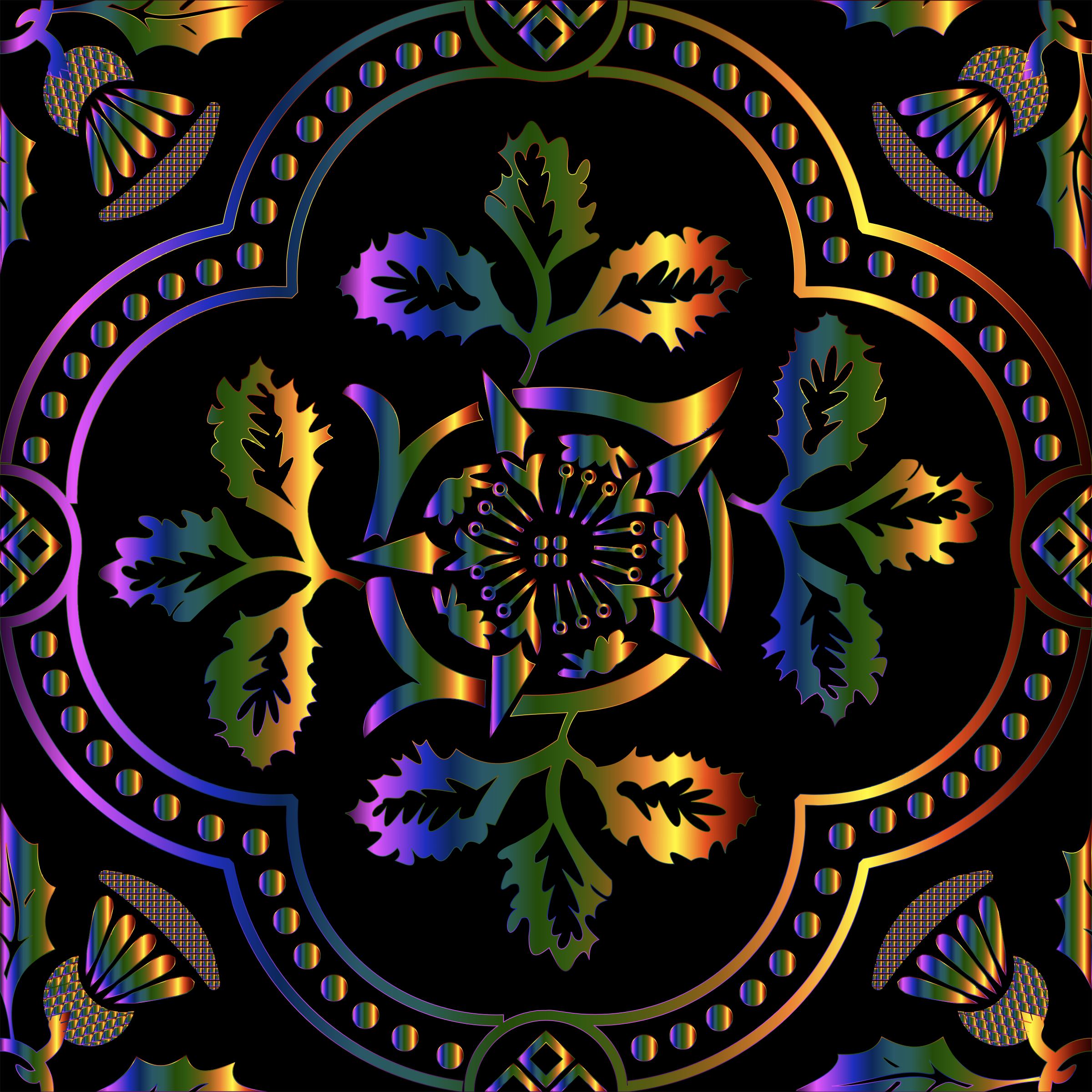 Decorative Floral Design Enhanced 2 by GDJ