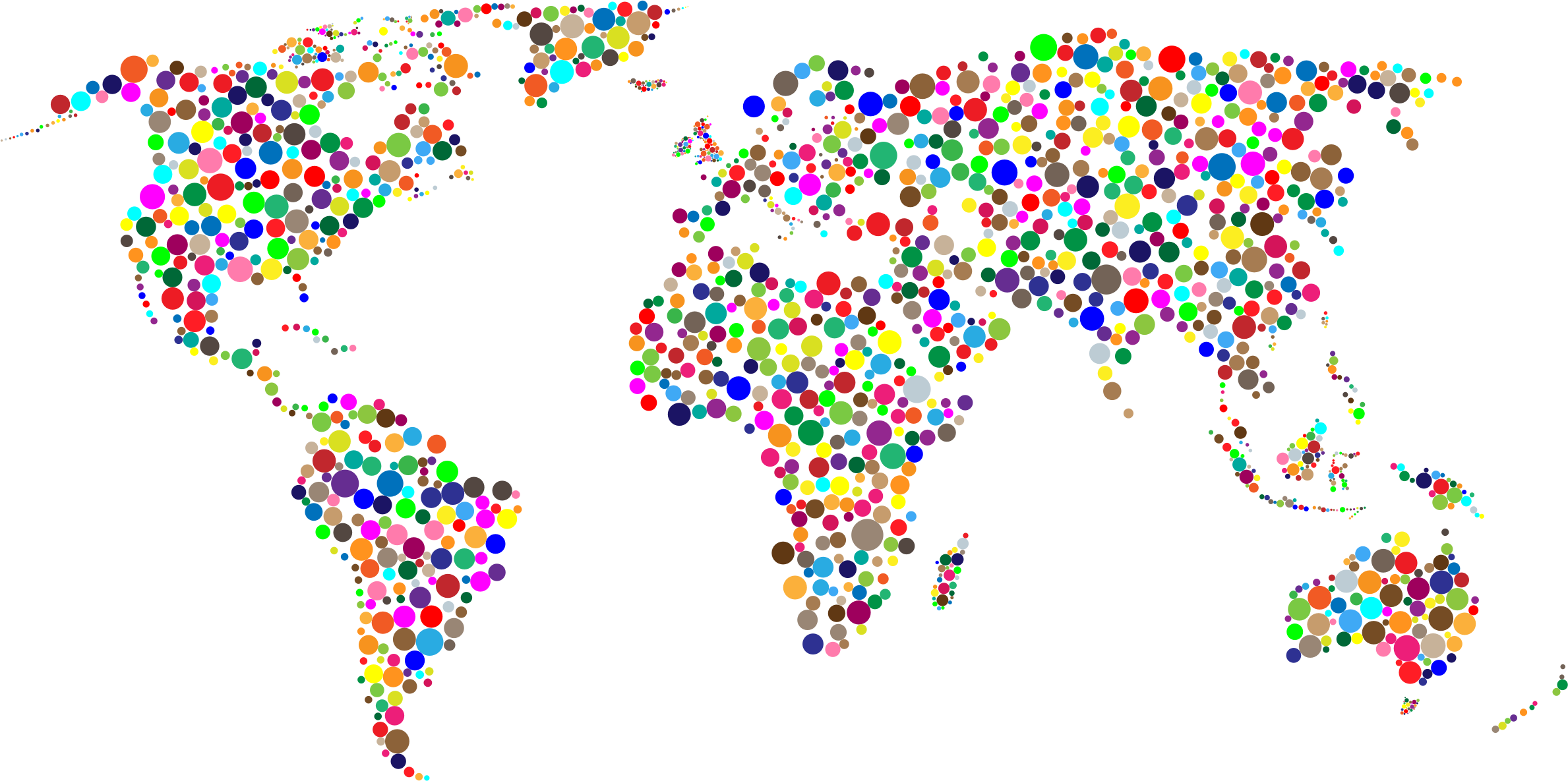 Colorful Circles World Map by GDJ