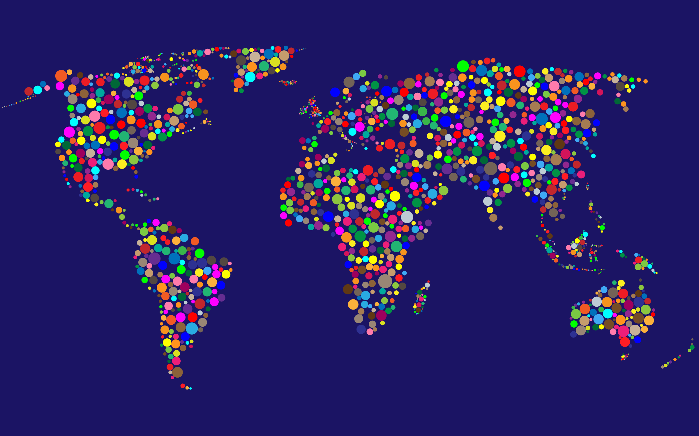 Colorful Circles World Map With Background 4 by GDJ