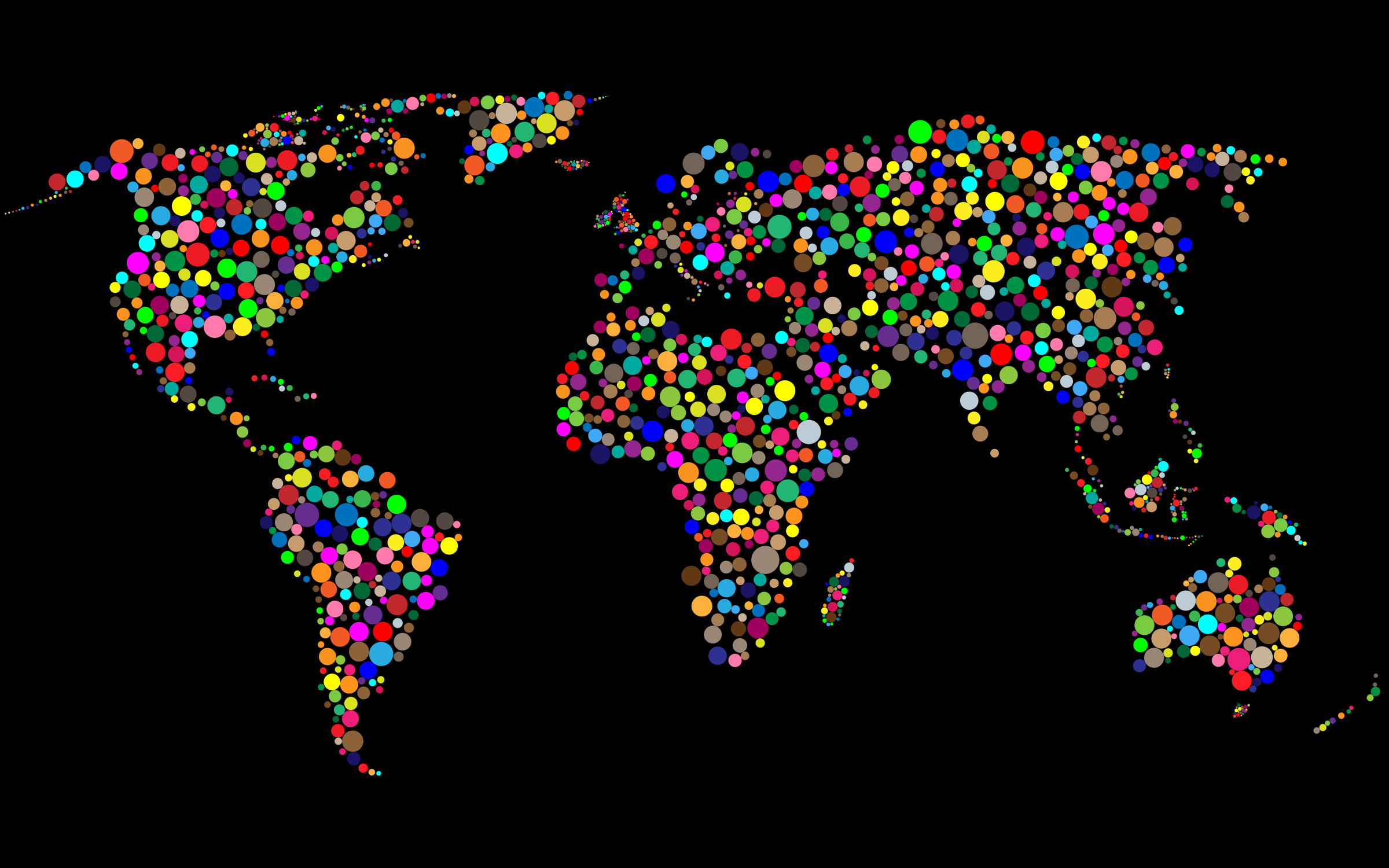 Colorful Circles World Map With Background 5 by GDJ