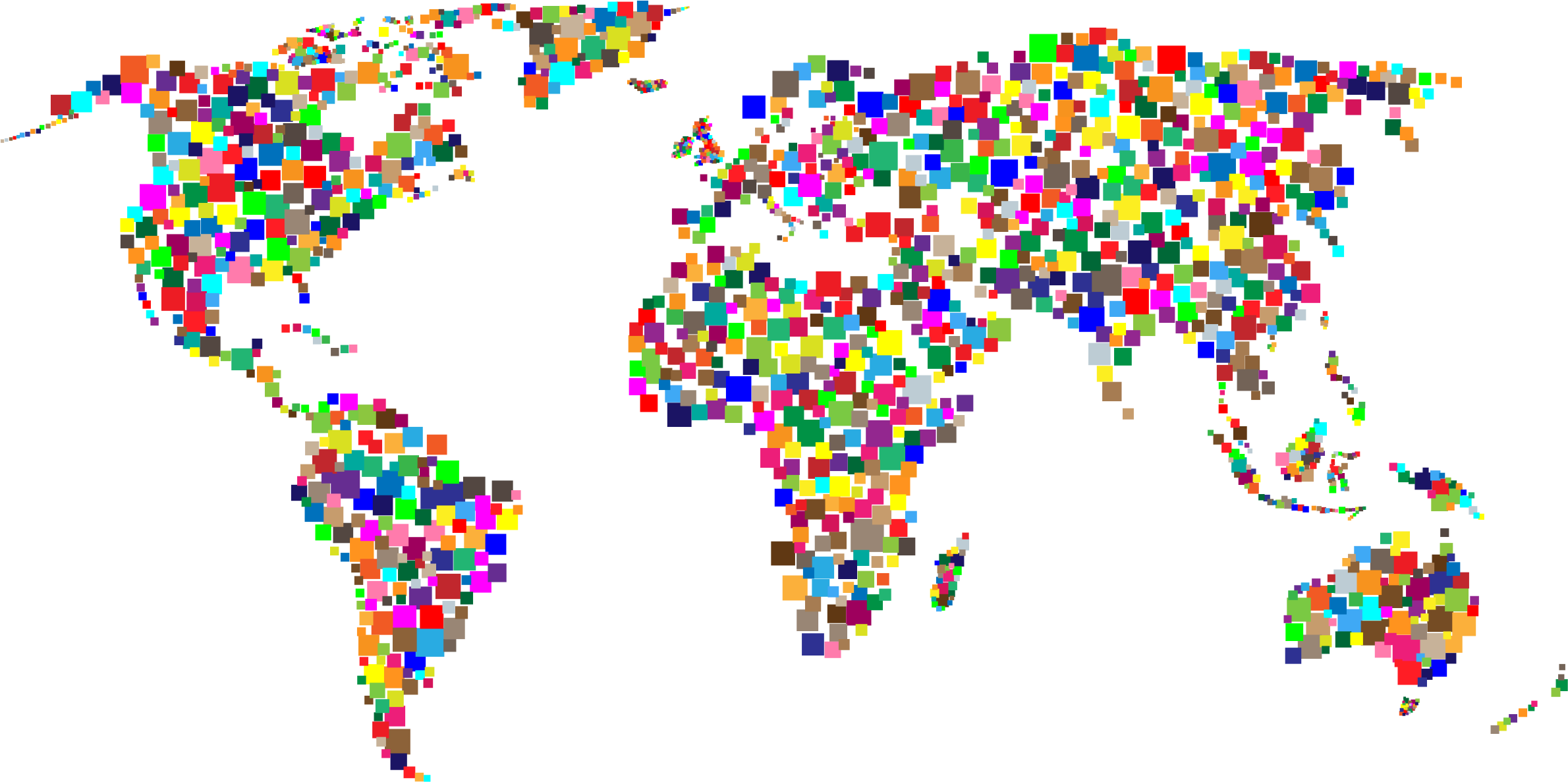 Colorful Squares World Map by GDJ