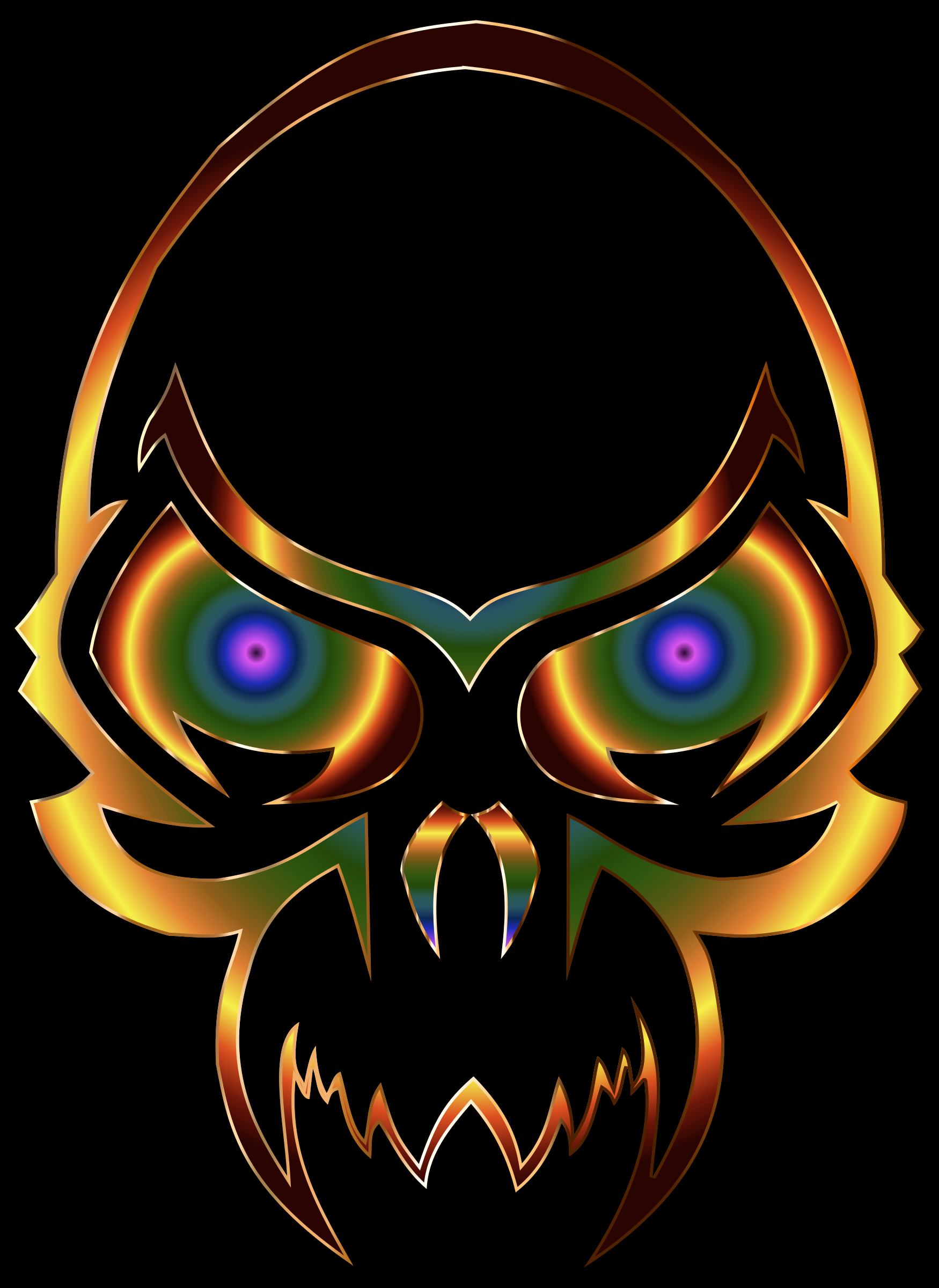 Colorful Skull 2 With Black Background by GDJ