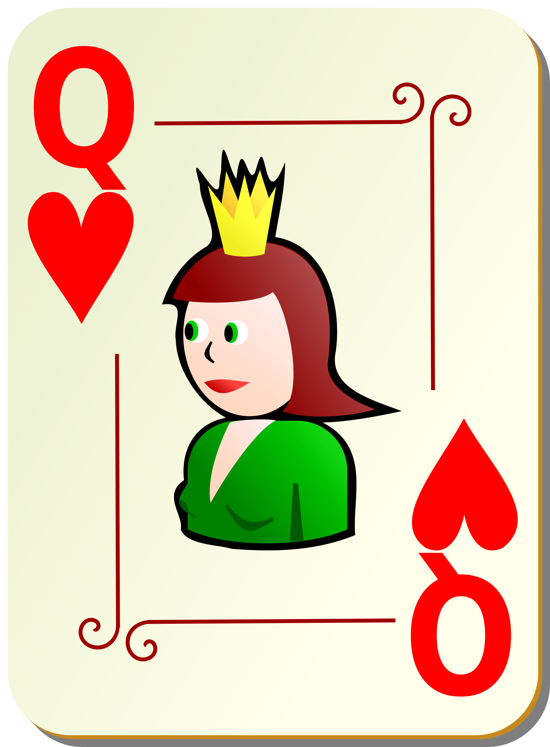 Ornamental deck: Queen of hearts by nicubunu
