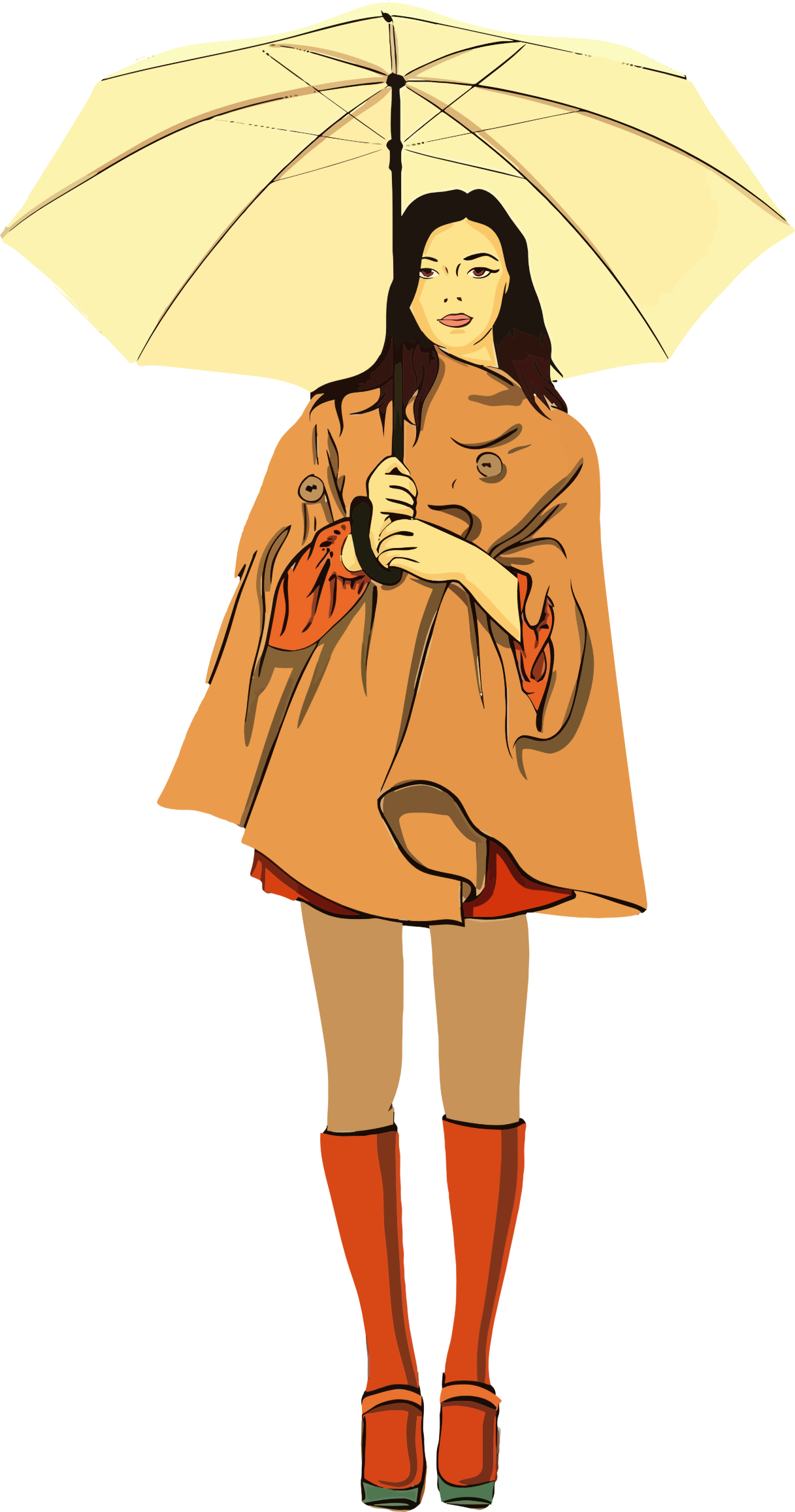 Clipart Woman With Umbrella