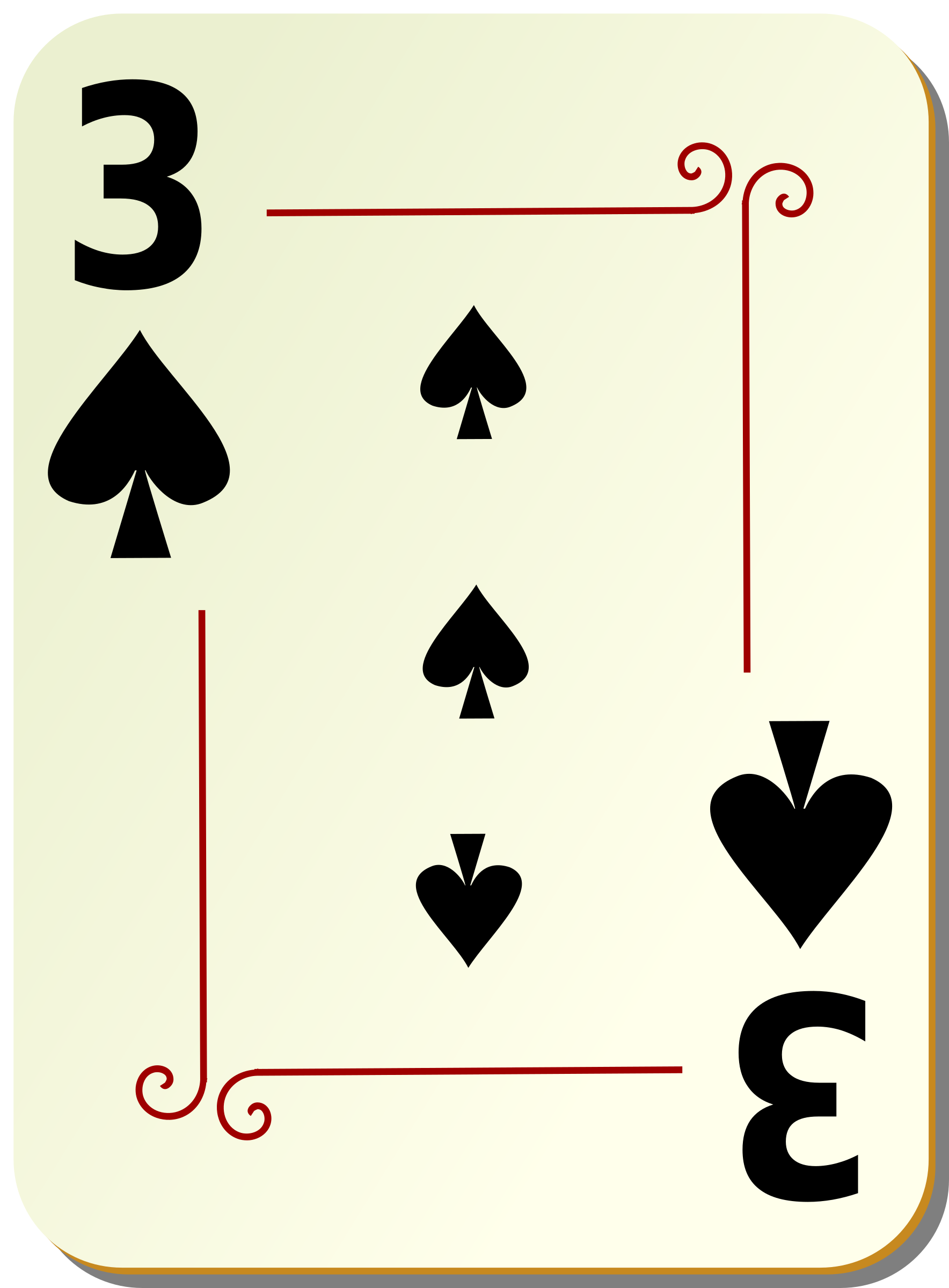Ornamental deck: 3 of spades by nicubunu