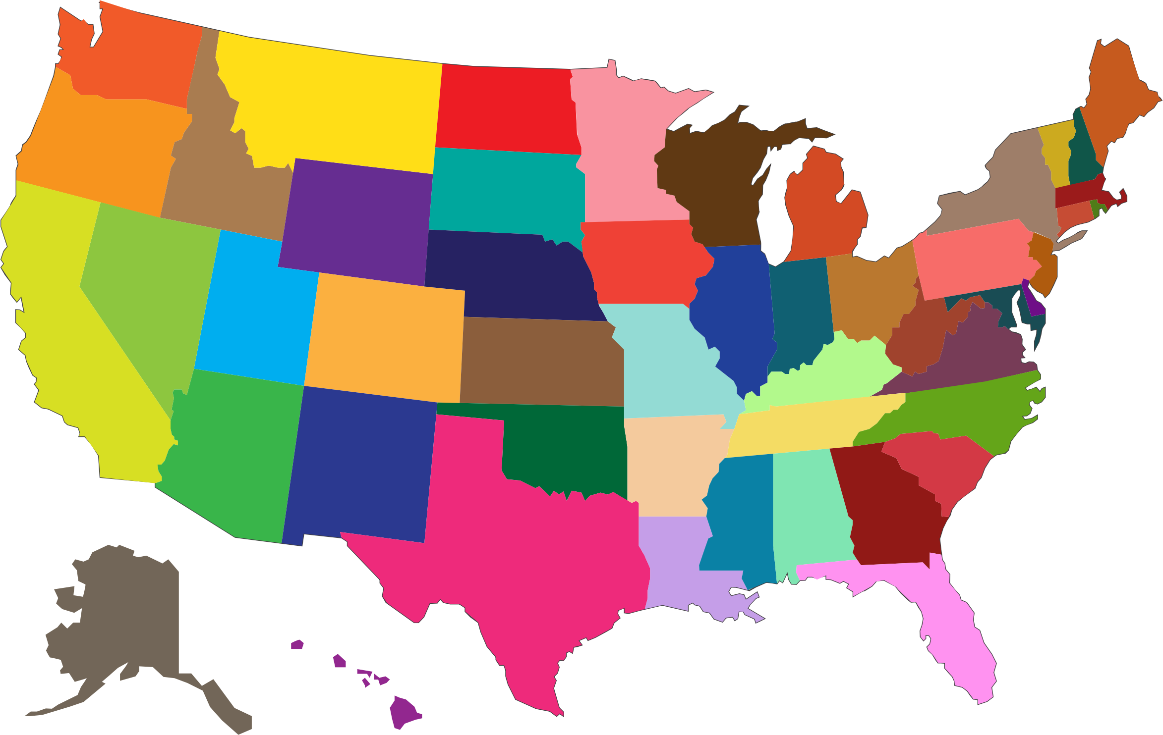 Clipart MultiColored United States Map - States map of the united states
