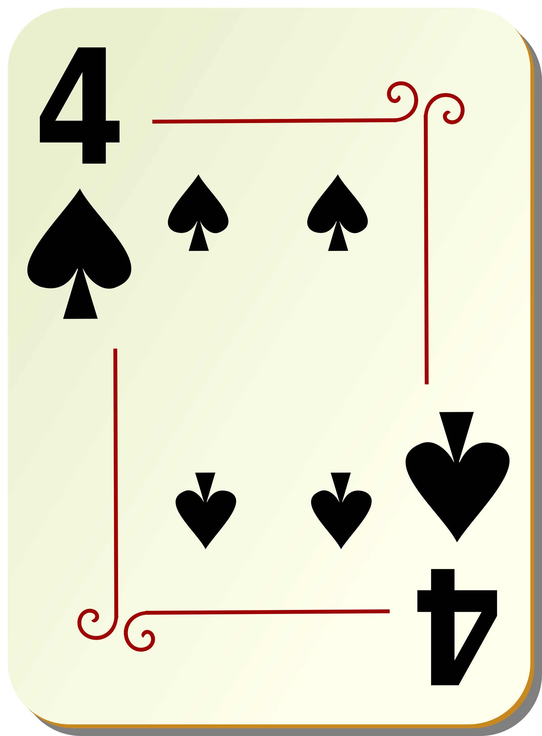 Ornamental deck: 4 of spades by nicubunu