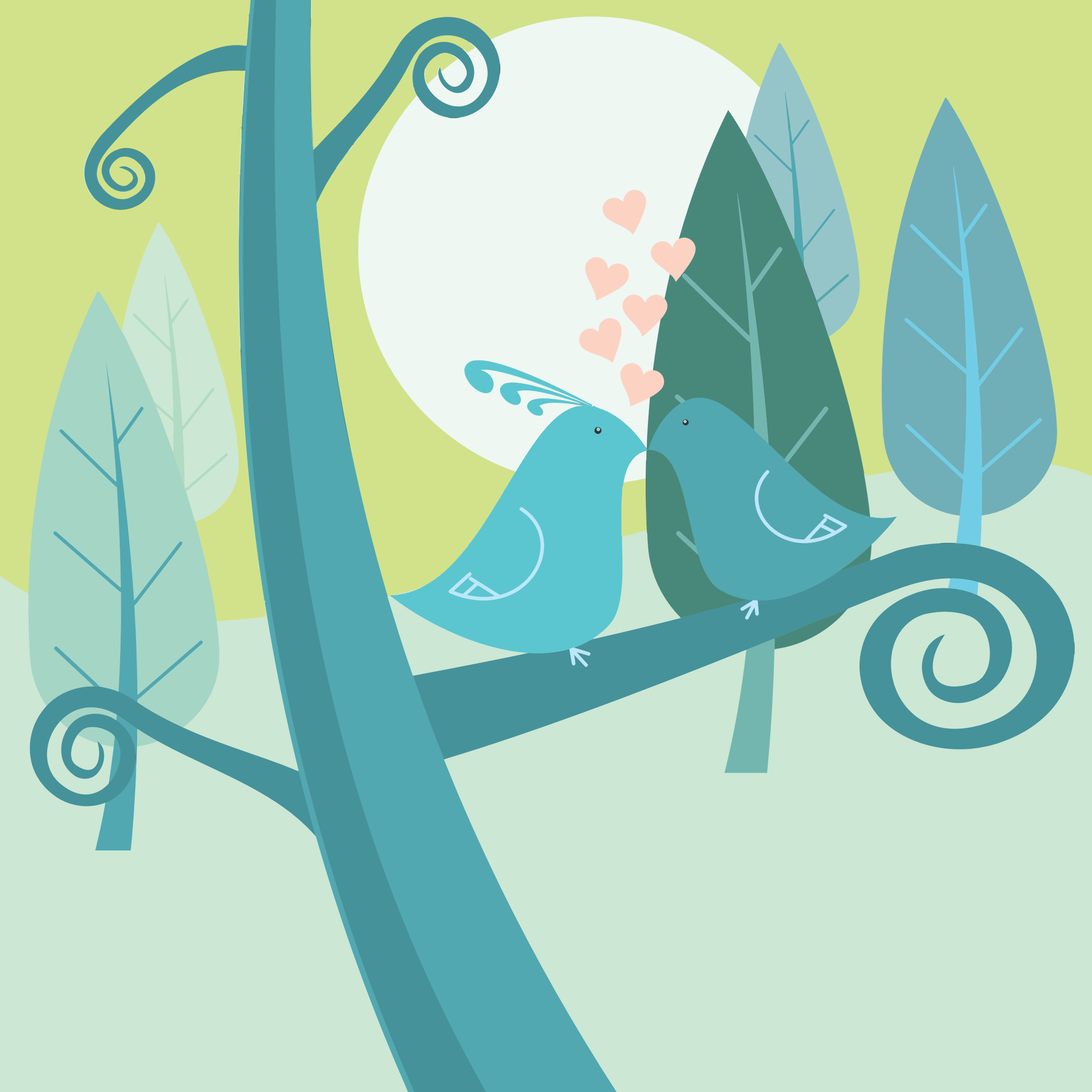 Clipart - Love Birds Forest