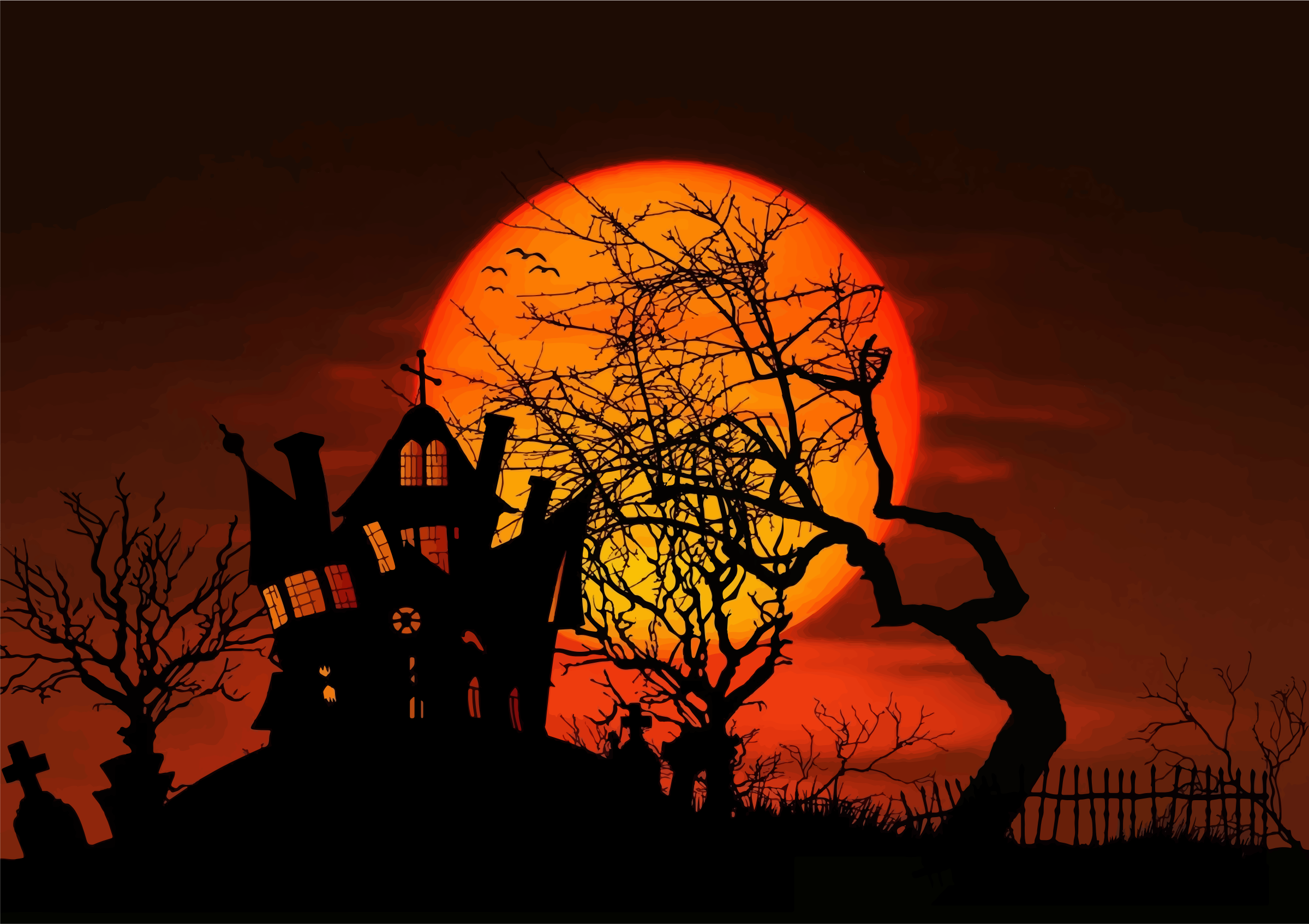 Haunted House Moonlight Silhouette by GDJ