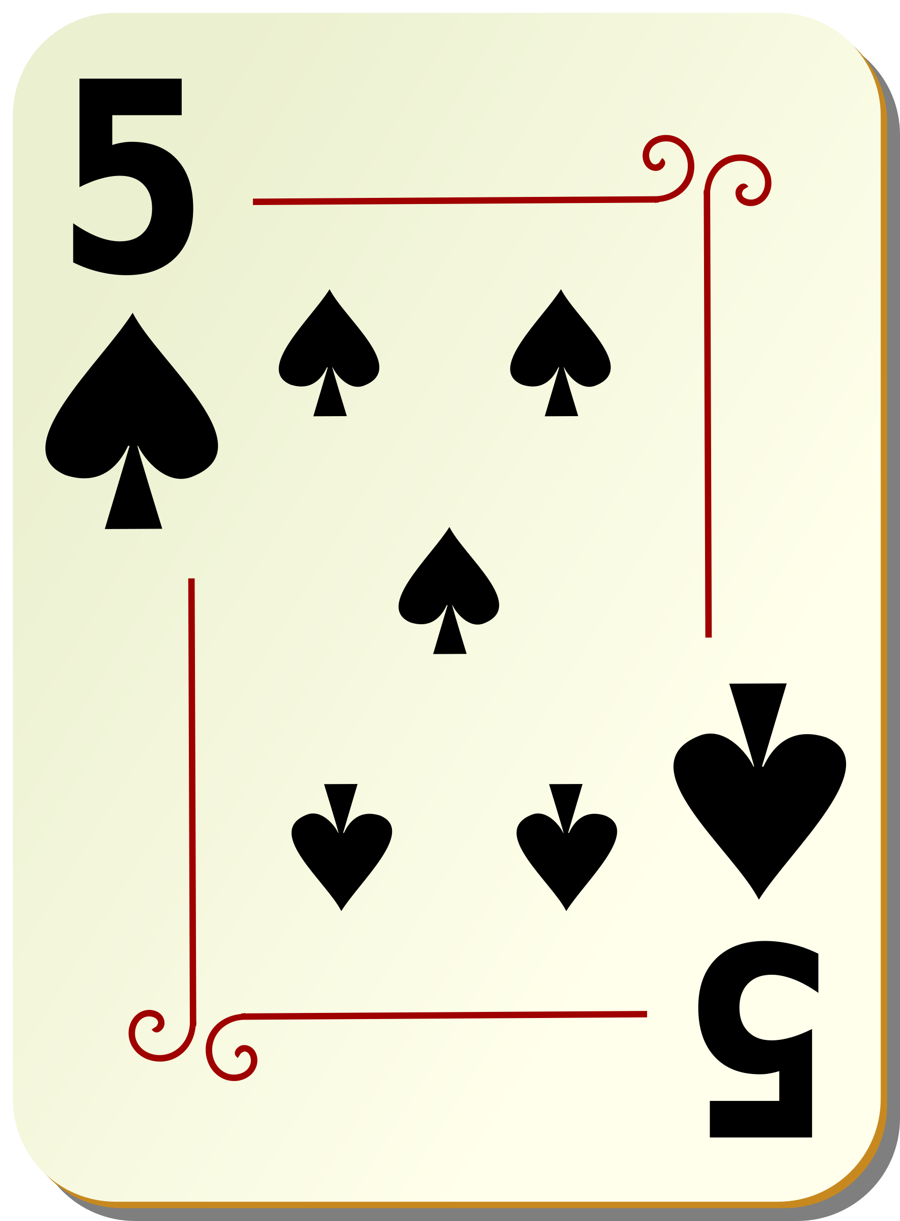 Ornamental deck: 5 of spades by nicubunu