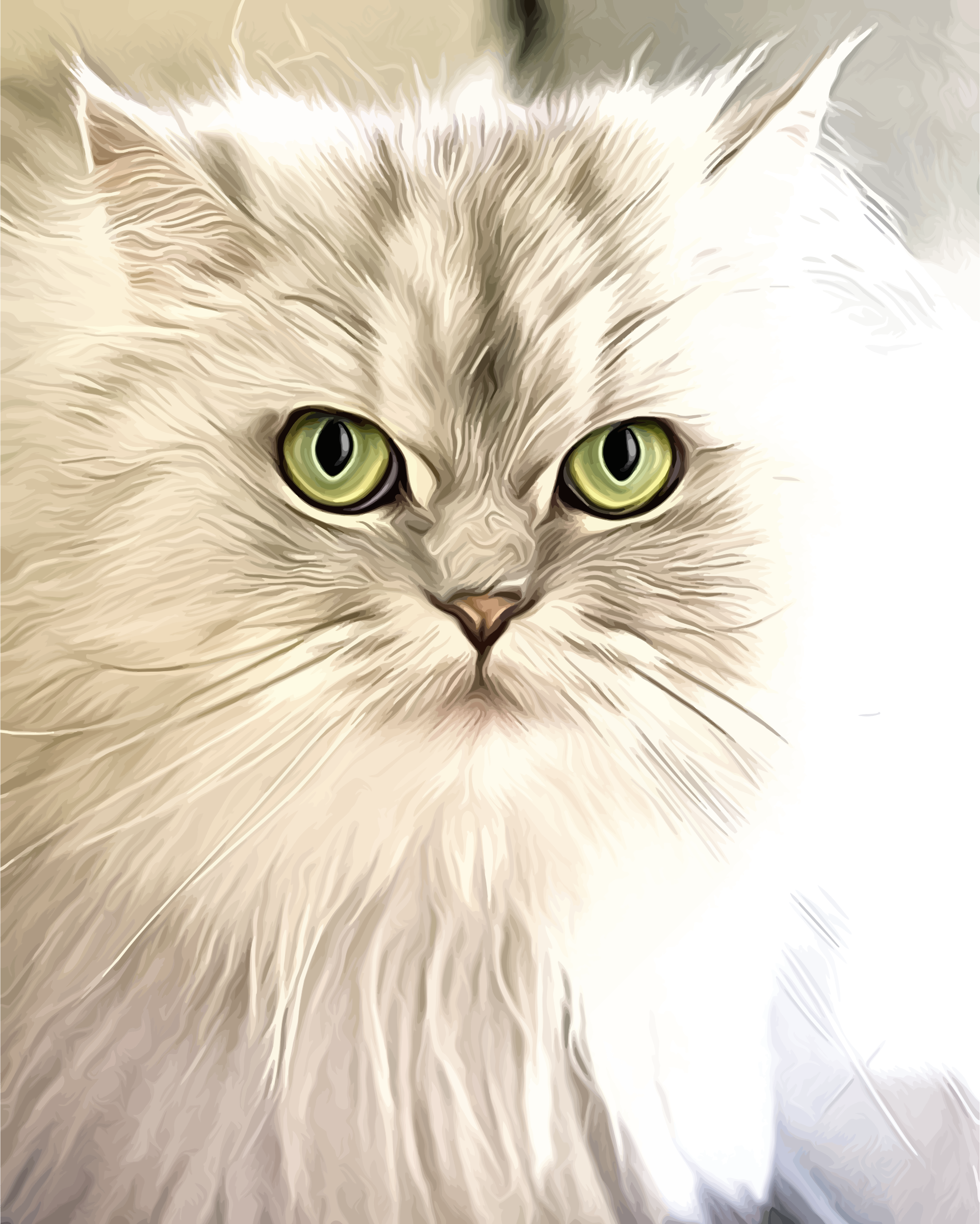 Cat Portrait Painting by GDJ