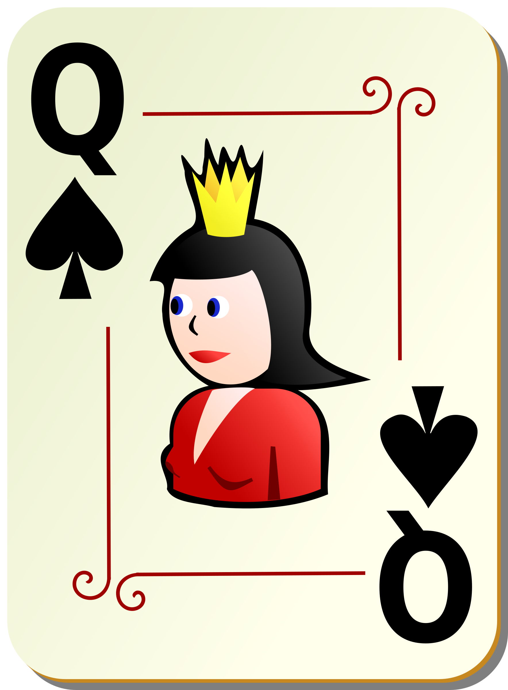 Ornamental deck: Queen of spades by nicubunu