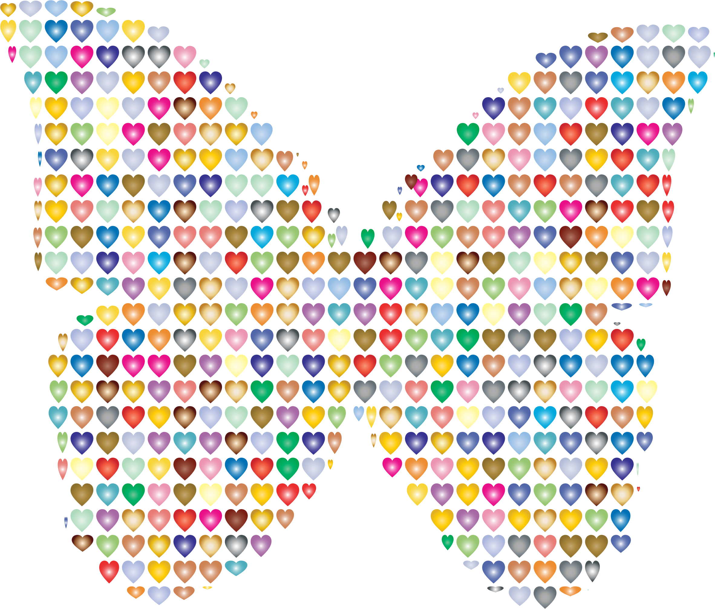 Colorful Hearts Butterfly 2 by GDJ