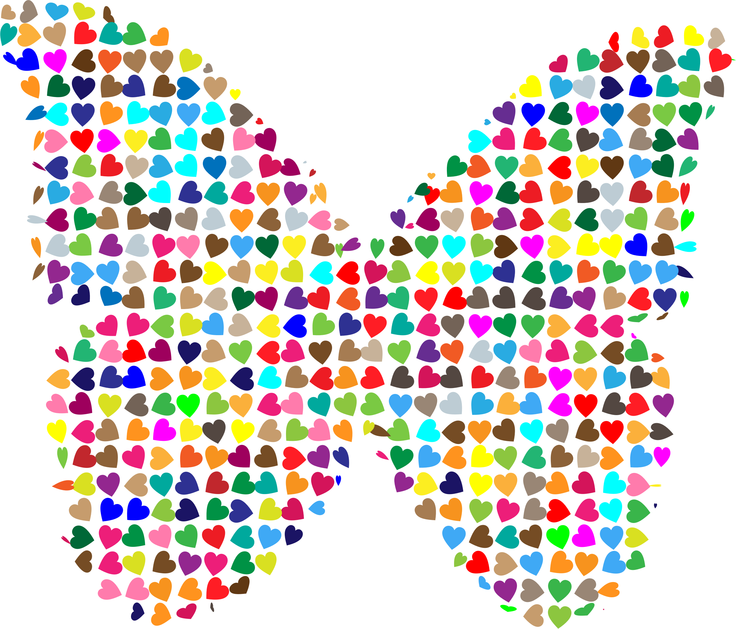Chaotic Colorful Hearts Butterfly by GDJ