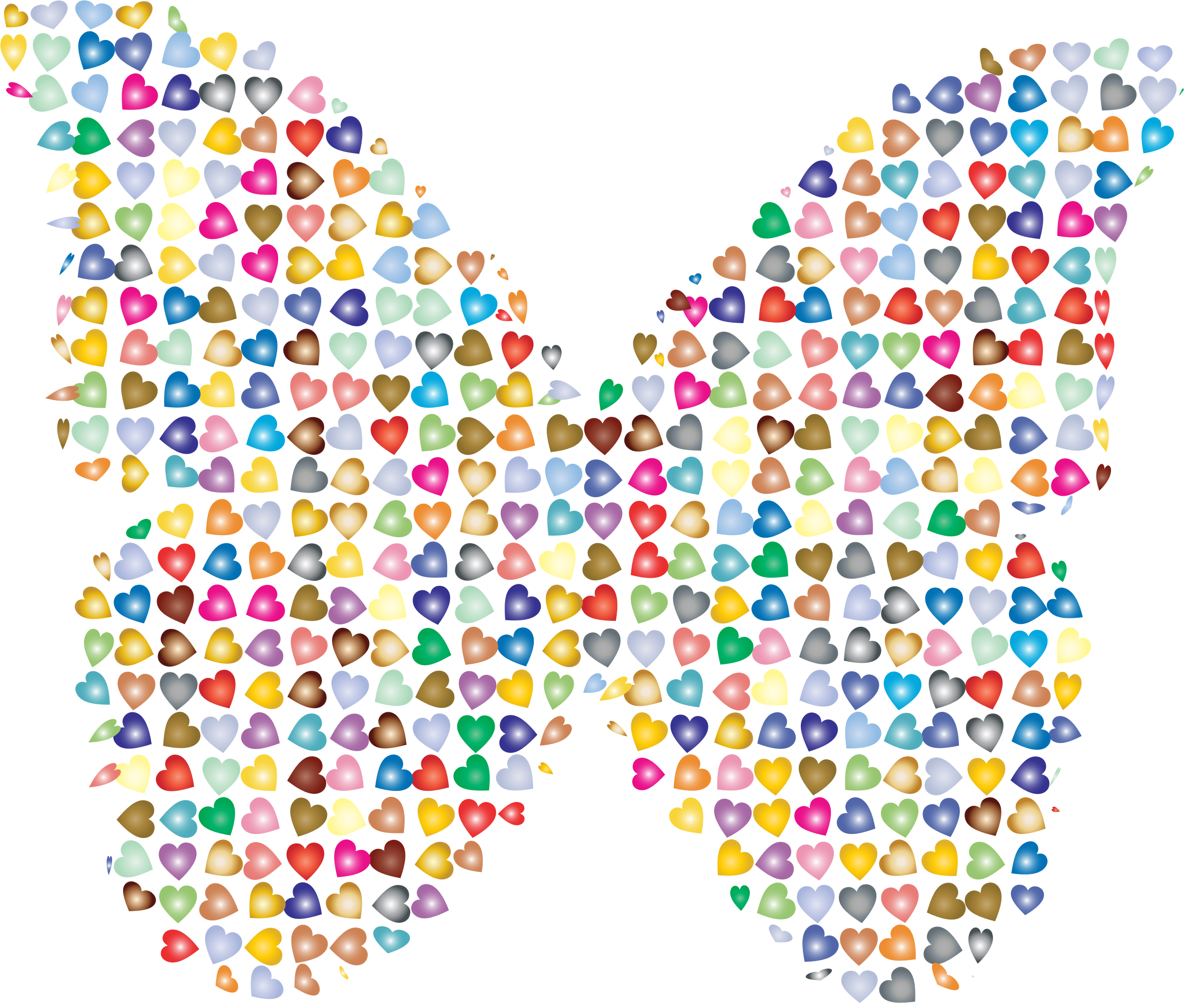Chaotic Colorful Hearts Butterfly 2 by GDJ