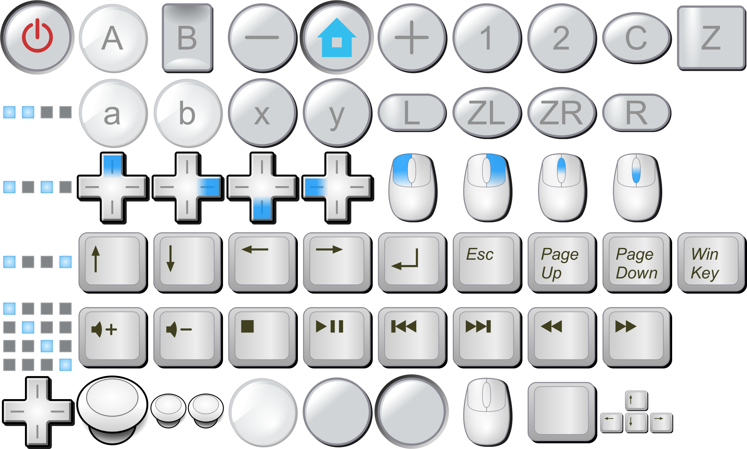 Wii buttons, mouse buttons, keyboard keys by CrazyTerabyte