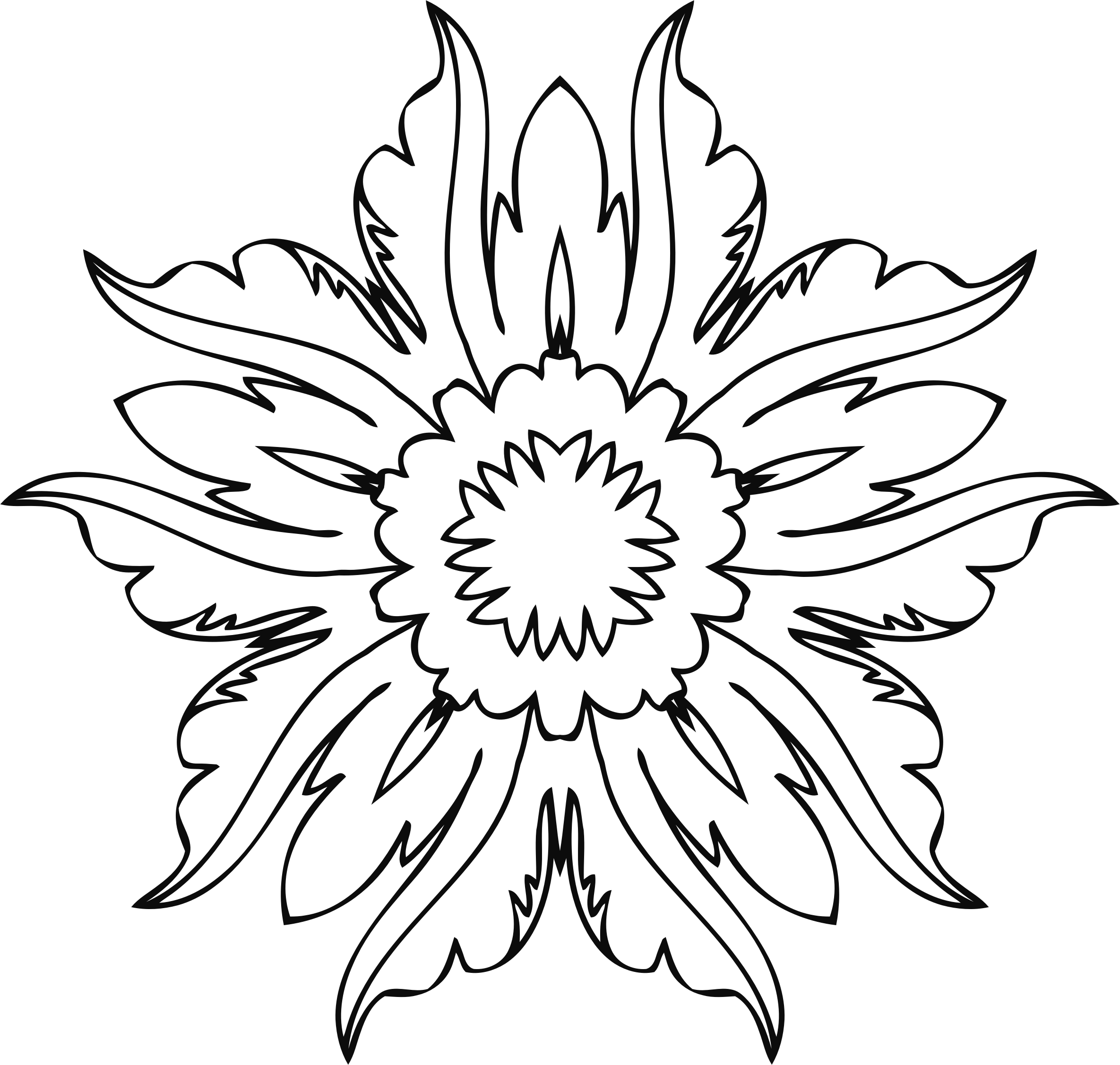 Line Art Flowers : Clipart flower line art