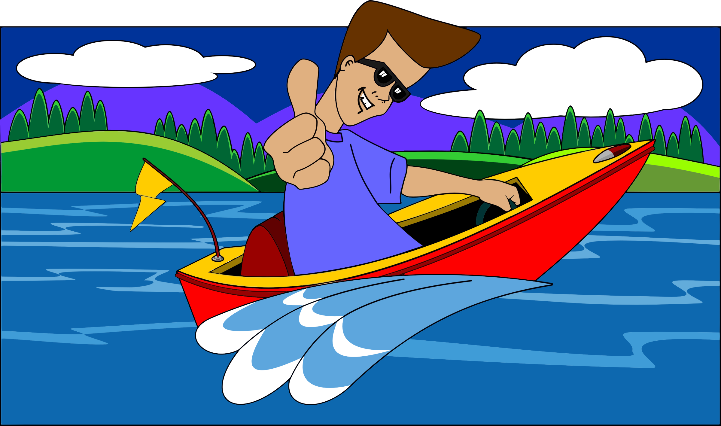 Thumbs Up Boy In Speed Boat With Landscape by GDJ