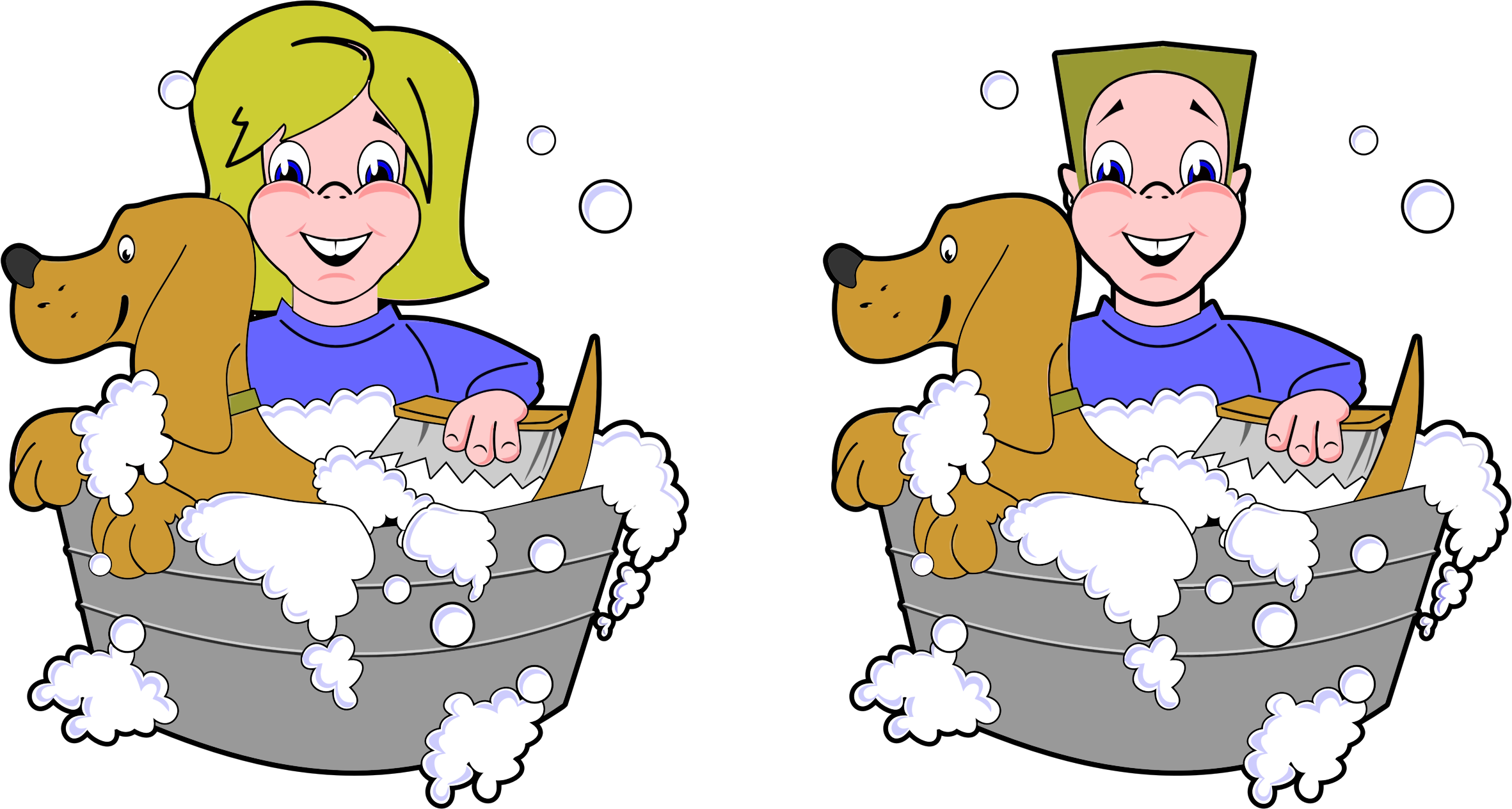 Girl And Boy Washing Dogs by GDJ
