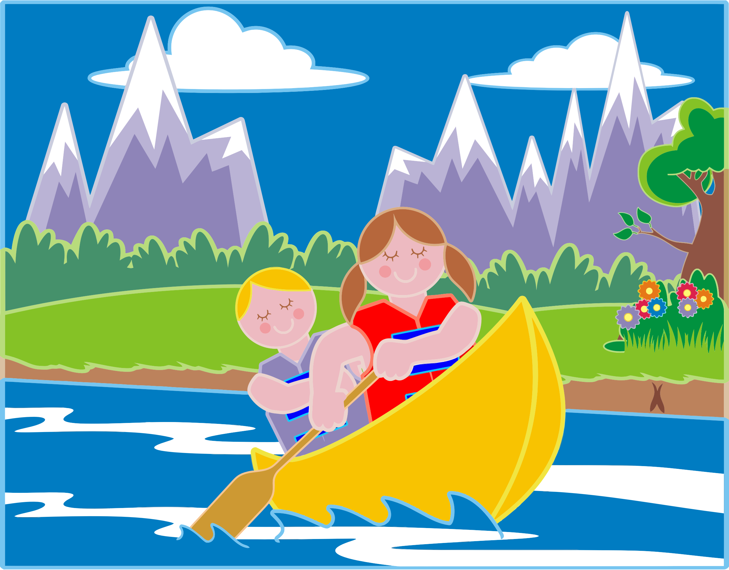 Girl And Boy Canoeing In Idyllic Landscape by GDJ