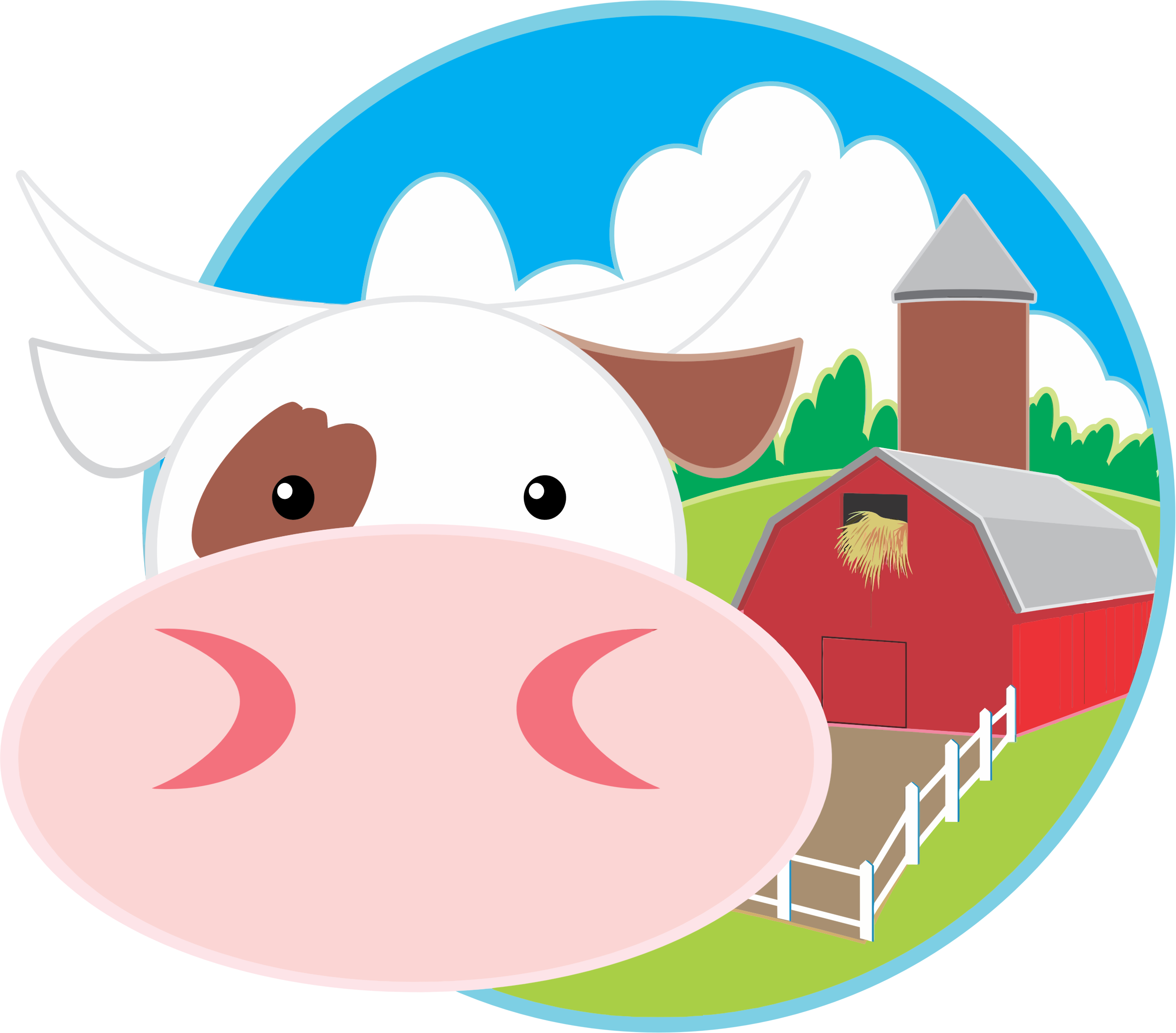Clipart - Cow And Barn