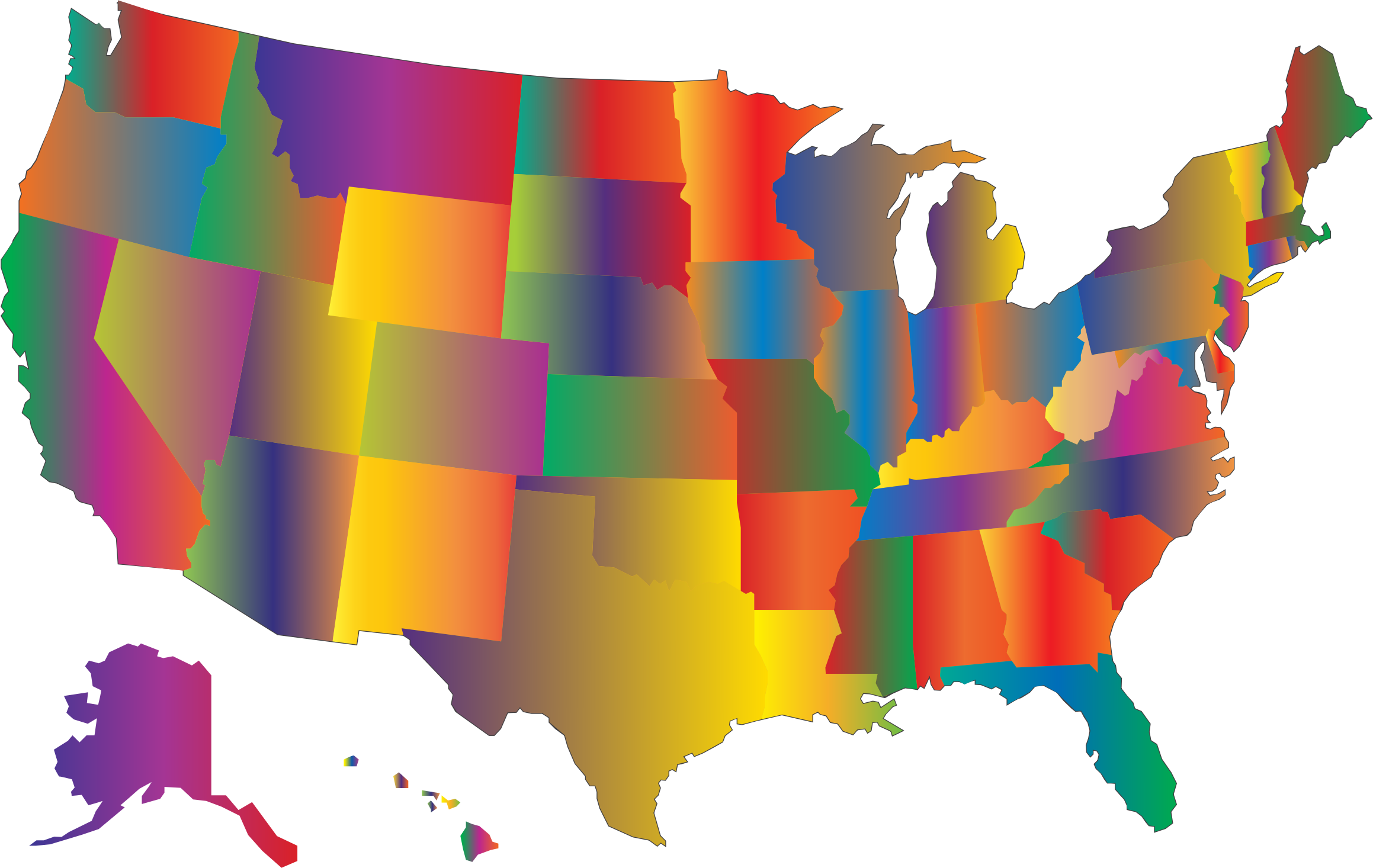 MultiColored Blended United States Map by GDJ